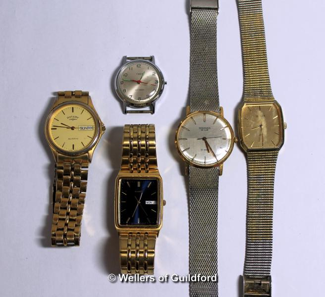 Lot 5016 - Selection of five gentlemen's watches, including Rotary, Sekonda, Seiko