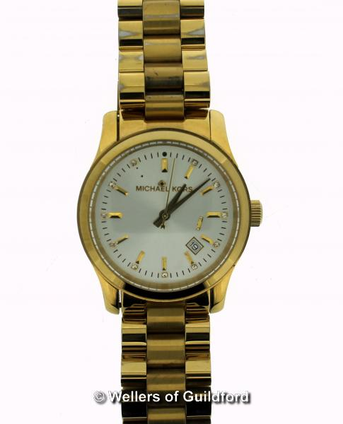 Lot 5006 - *Ladies' Michael Kors wristwatch, circular cream dial with baton and white stone hour markers,