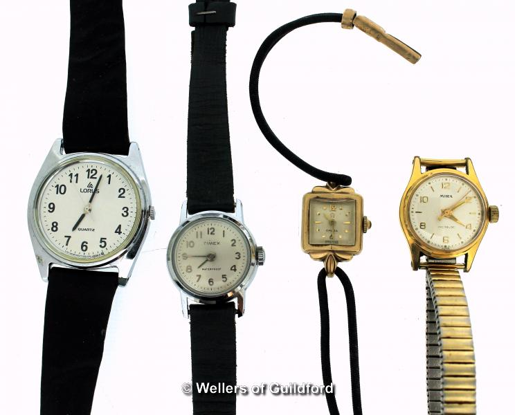 Ladies' vintage Omega cocktail watch, 9ct gold case, square cream dial with baton/dot hour markers,