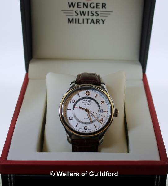 Lot 5005 - *Gentlemen's Wenger Swiss Military wristwatch, circular cream dial, with Arabic numerals, baton hour