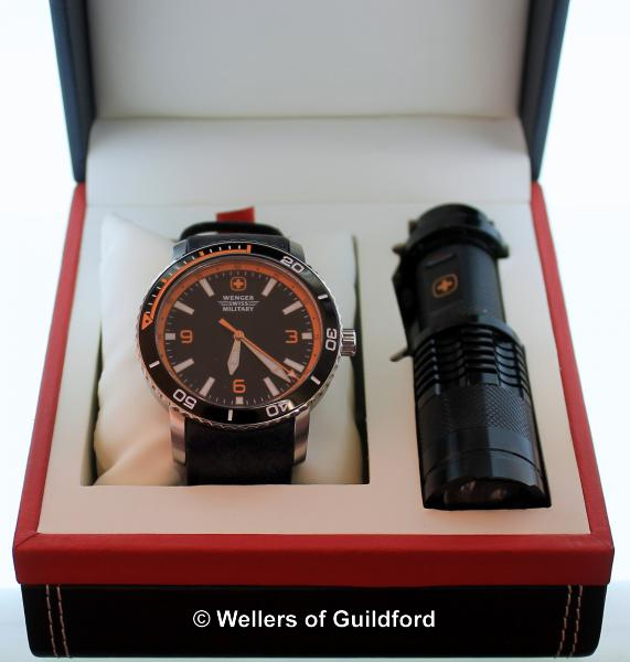 Lot 5042 - *Gentlemen's Wenger Roadster wristwatch, circular black dial with orange and white detail, Arabic