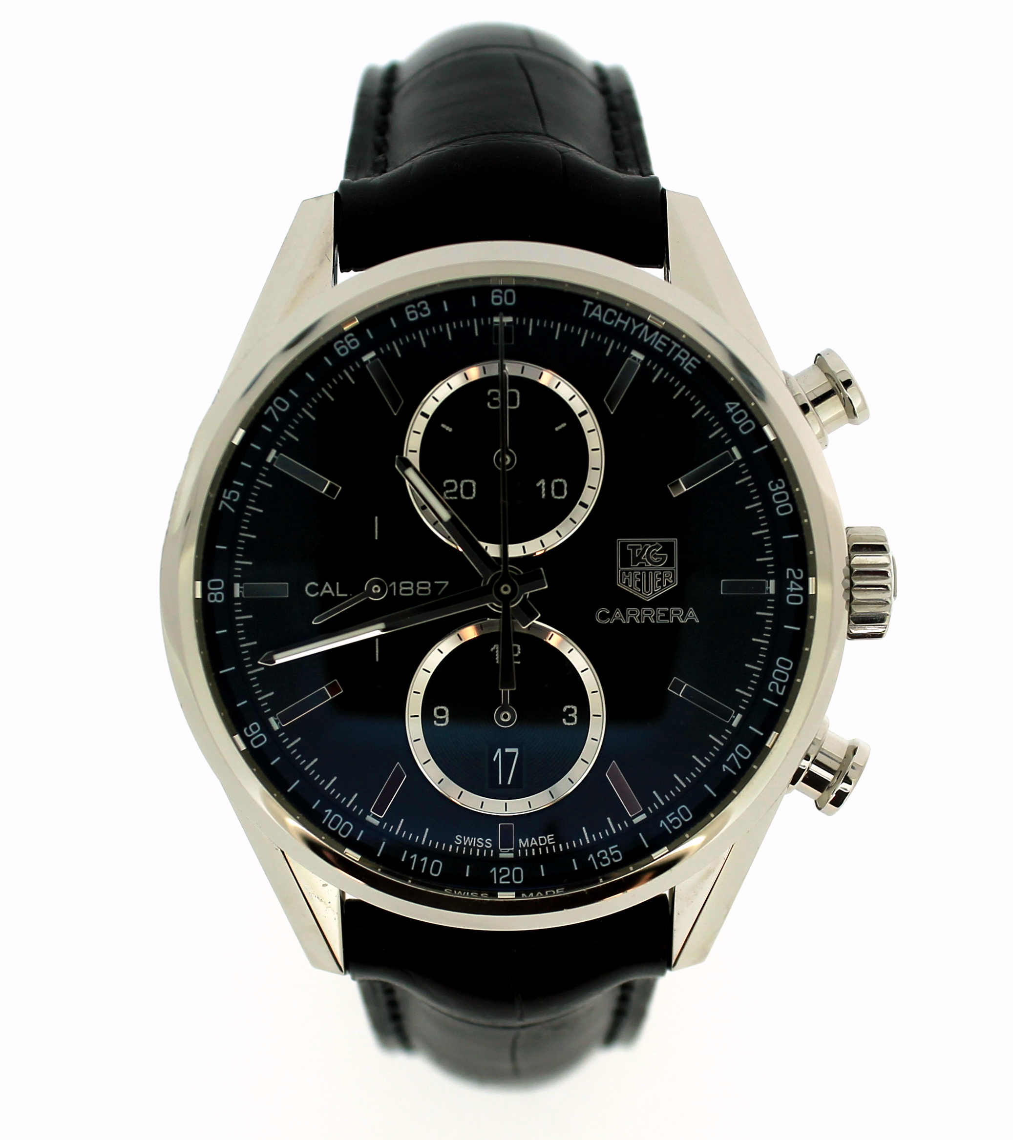 Lot 5046 - *Gentlemen's Tag Heuer Carrera automatic wristwatch, circular black dial with baton hour markers and