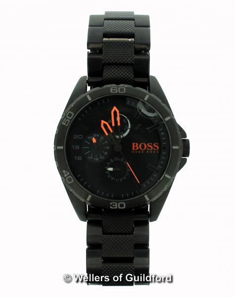 Lot 5027 - *Gentlemen's Hugo Boss wristwatch, in black stainless steel with circular dial, baton hour markers