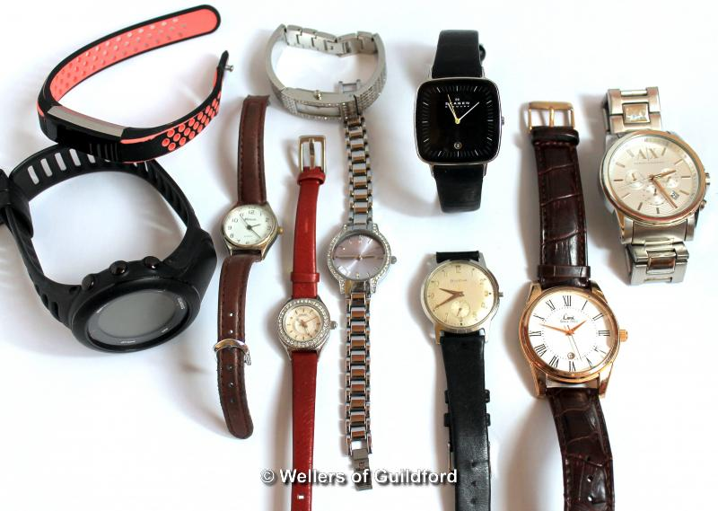 Lot 5034 - *Selection of ten mixed wristwatches, including Skagen, Bulova, Fitbit (Lot subject to VAT)