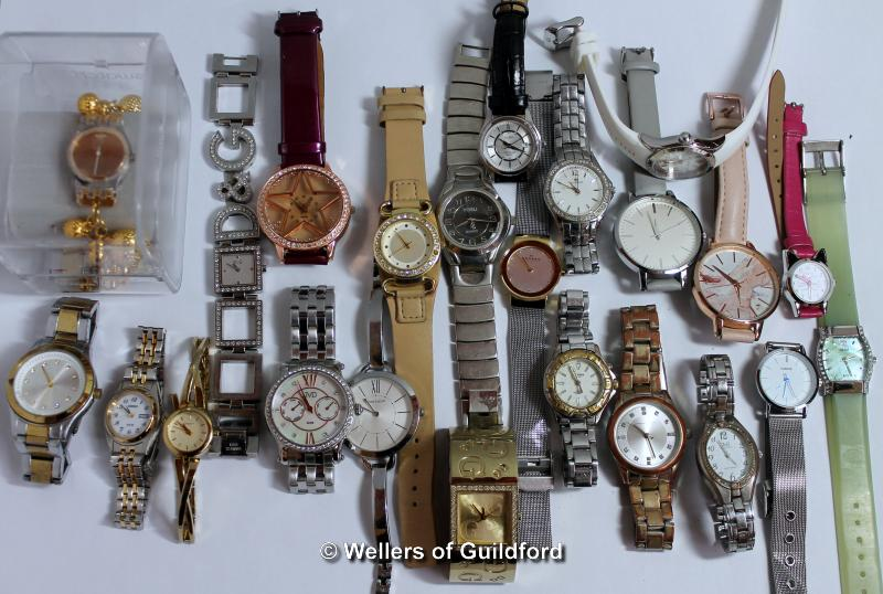Lot 5009 - *Selection of twenty-three ladies' wristwatches, including Skagen, Seiko and a boxed Swatch (Lot