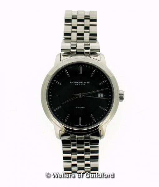 Lot 5022 - *Gentlemen's Raymond Weil automatic wristwatch, circular black textured dial with baton hour markers