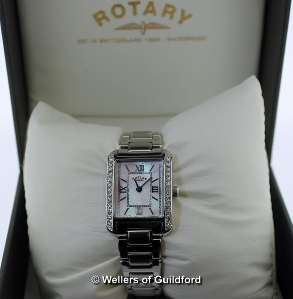 Lot 5004 - *Ladies' Rotary wristwatch, rectangular mother of pearl dial, with white stone set bezel, Roman