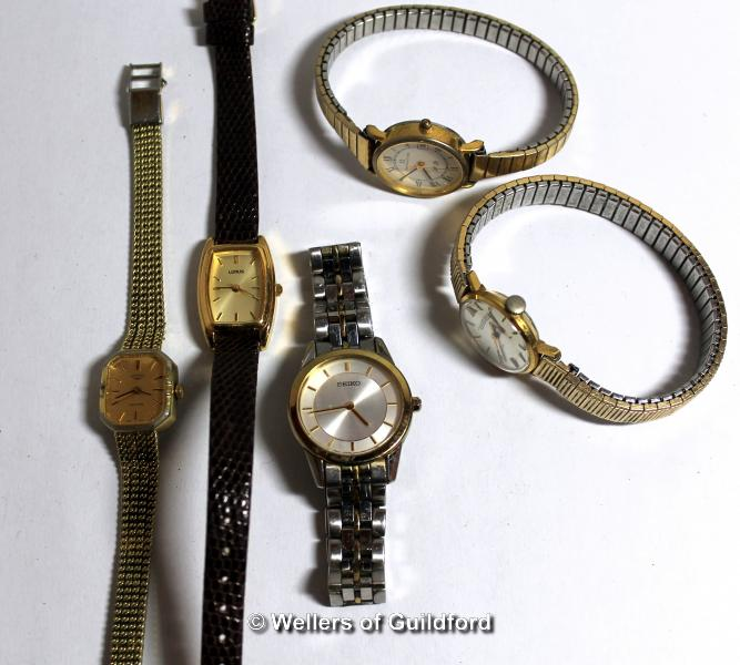 Lot 5015 - Selection of five ladies' wristwatches, including Rotary, Seiko