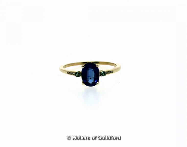 Kyanite, alexandrite and diamond ring, oval cut kyanite, weighing an estimated 1.63cts, with an