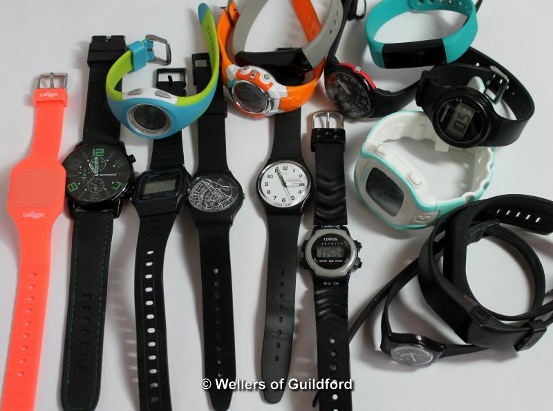 Lot 5010 - *Selection of sixteen mixed sports style wristwatches, with rubberised/plastic straps (Lot subject