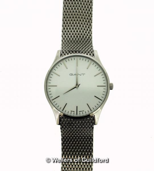 Lot 5017 - *Gentlemen's Gant stainless steel wristwatch, circular white dial with baton hour markers (Lot