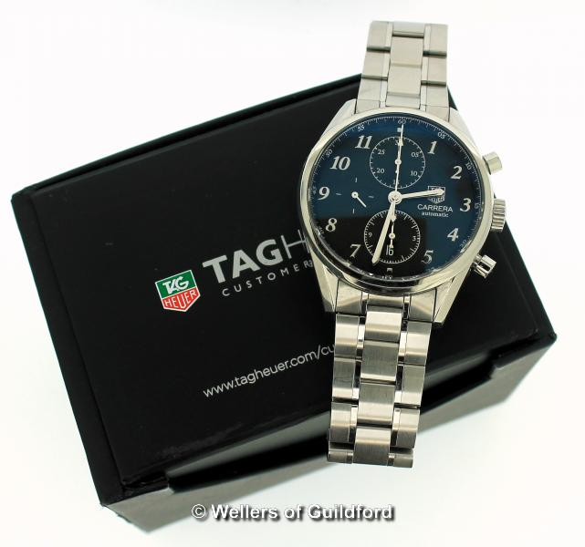 Lot 5026 - *Gentlemen's Tag Heuer Carrera automatic wristwatch, circular black textured dial, with Arabic