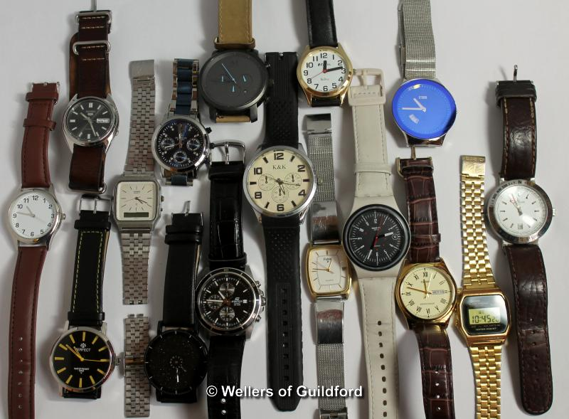Lot 5008 - *Selection of sixteen gentlemen's wristwatches, including Seiko, Swatch, Casio (Lot subject to VAT)