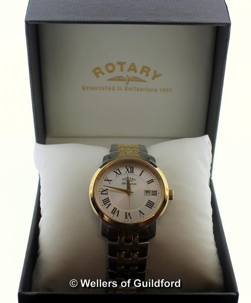 Lot 5030 - *Gentlemen's Rotary Les Originales wristwatch, circular cream dial, with Roman numerals and date