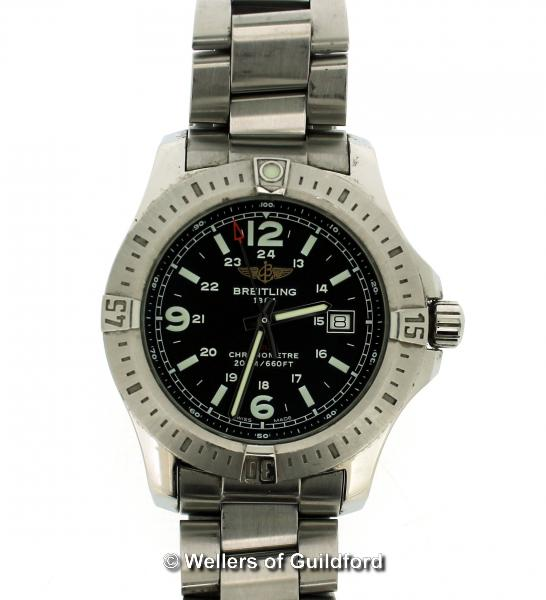 Lot 5035 - *Gentlemen's Breitling Colt stainless steel wristwatch, 44mm case, circular black dial, with