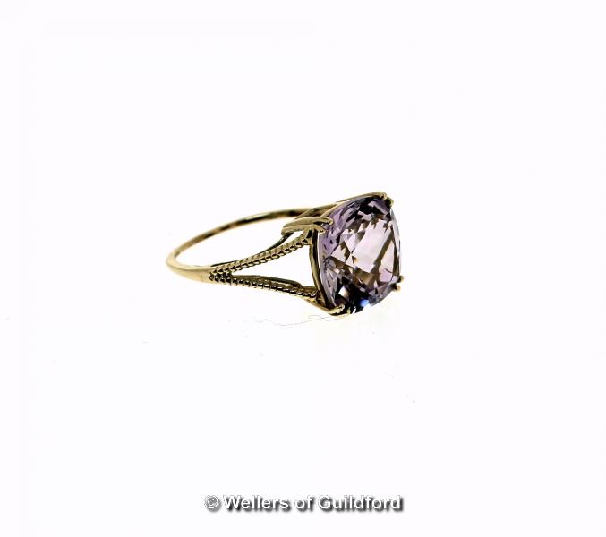 Lot 5112 - Amethyst single stone ring, cushion cut amethyst, weighing an estimated 6.30cts, mounted in 9ct