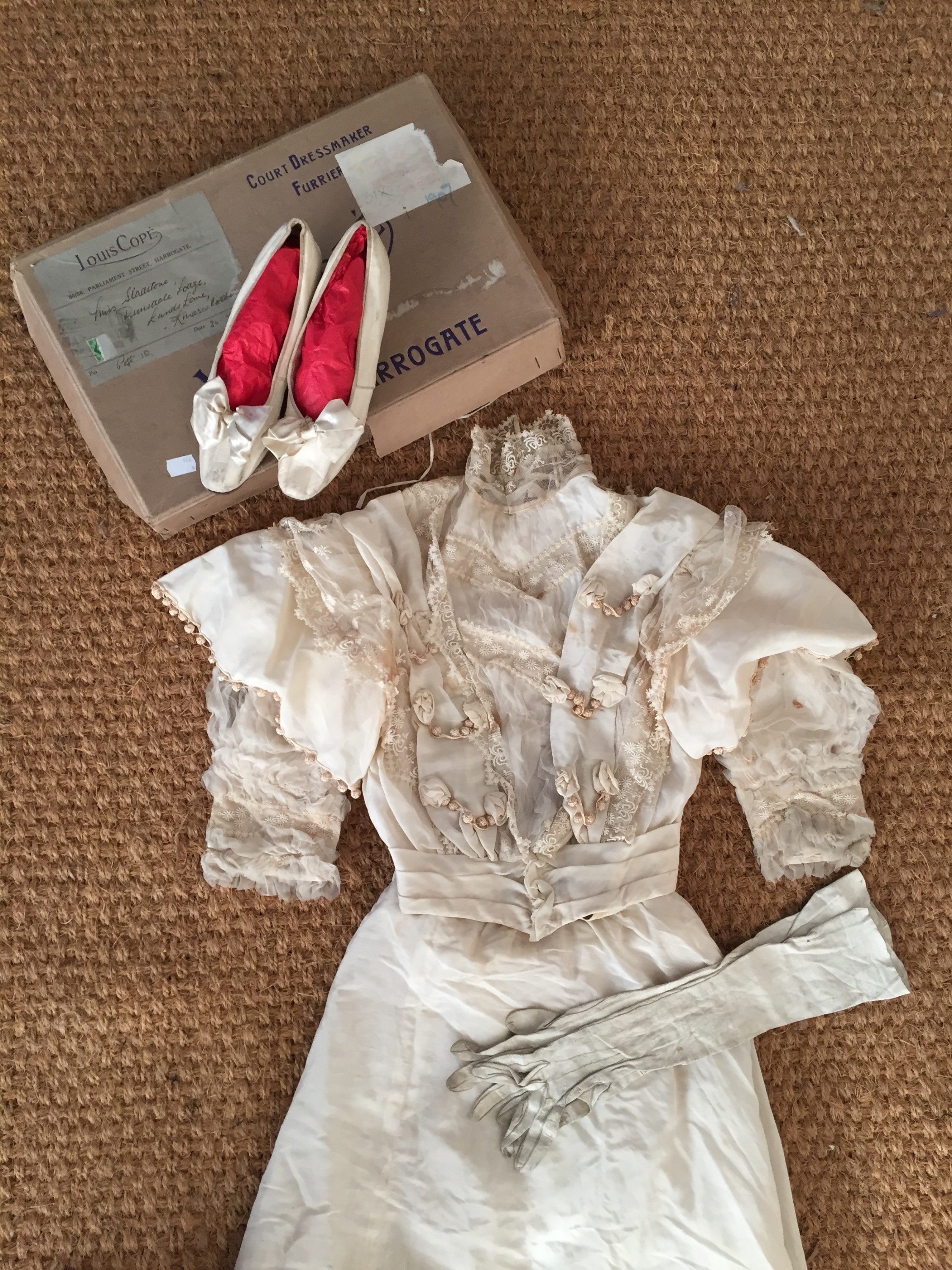 Lot 42 - An Edwardian watered silk wedding ensemble by costumier J.K Barrow of Barrow-in-Furness, the two-
