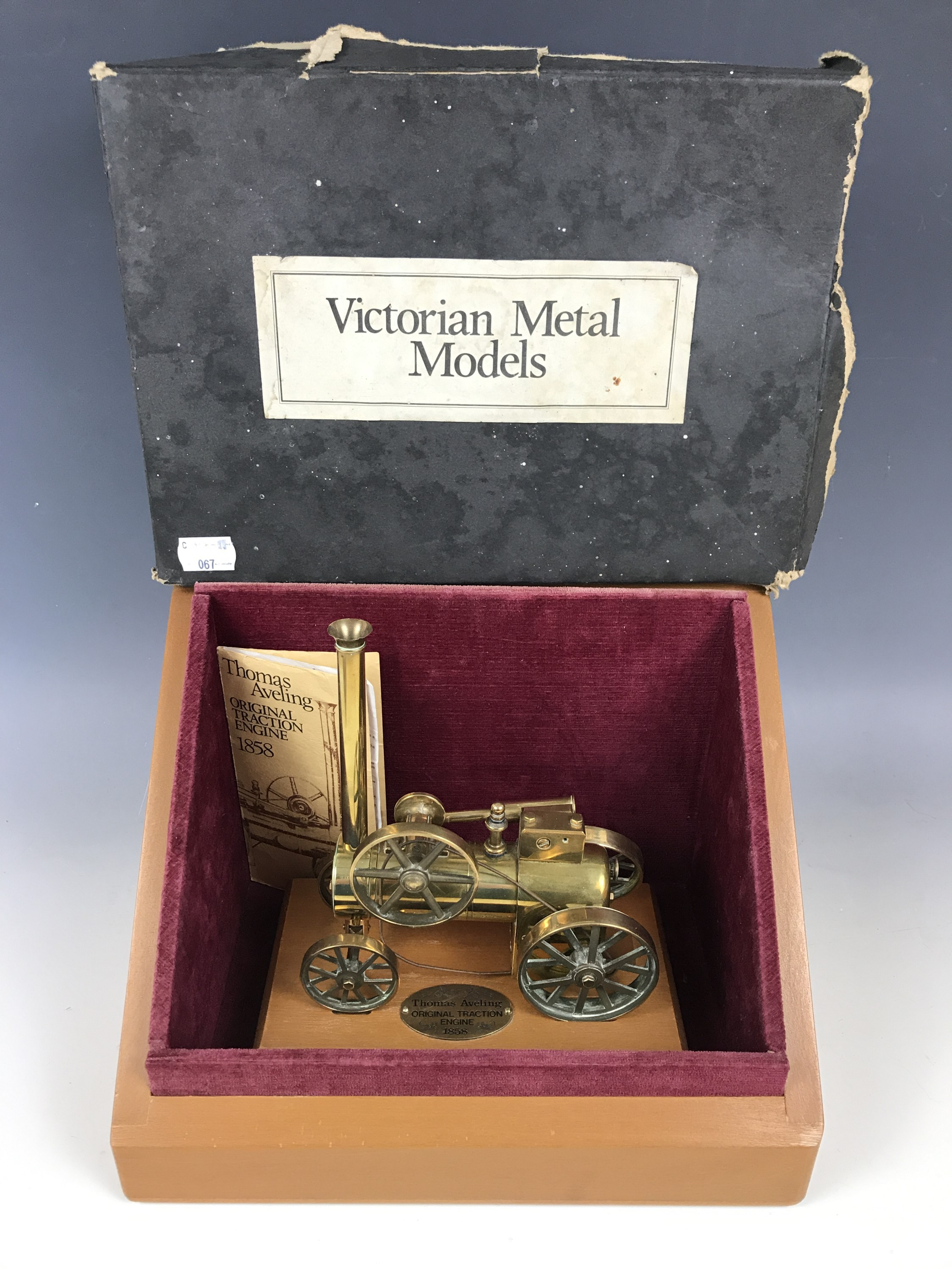 """Lot 13 - A """"Victorian Metal Models Ltd"""" brass live-steam scale model of a Thomas Aveling 1858 traction"""