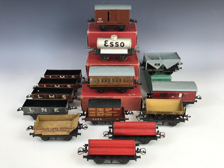 Lot 51 - Hornby clockwork O Gauge rolling stock in original cartons, including No.1 Goods Van, R161 Gas