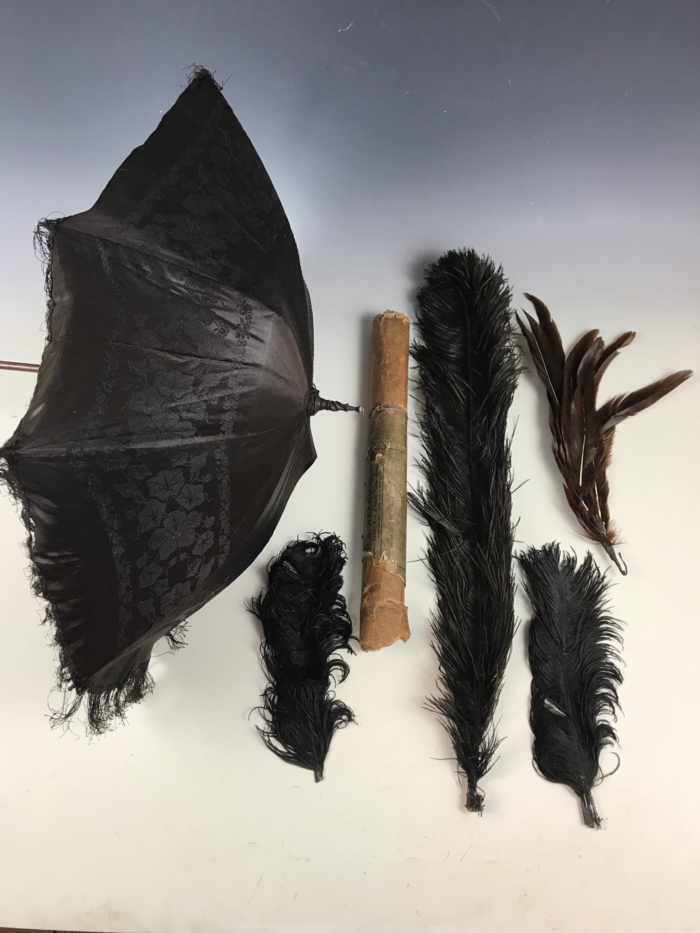 Lot 36 - A late Victorian carriage parasol of black silk damask, with turned wooden handle, together with