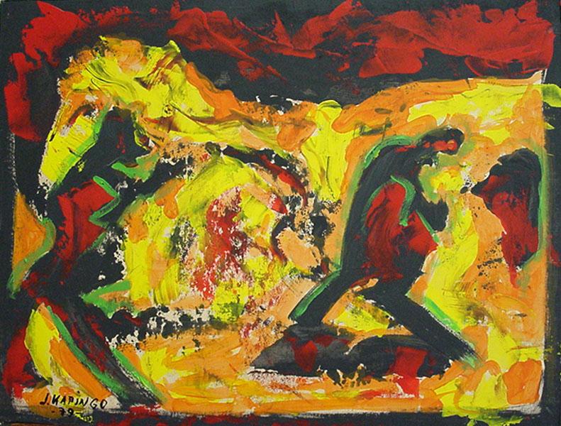 Lot 122 - Joe Kapingo(wohl Pseudonym Tom Sack)Abstraktion in Rot-OrangeÖl/Malkarton, 53 x 70 cm, sign. sowie