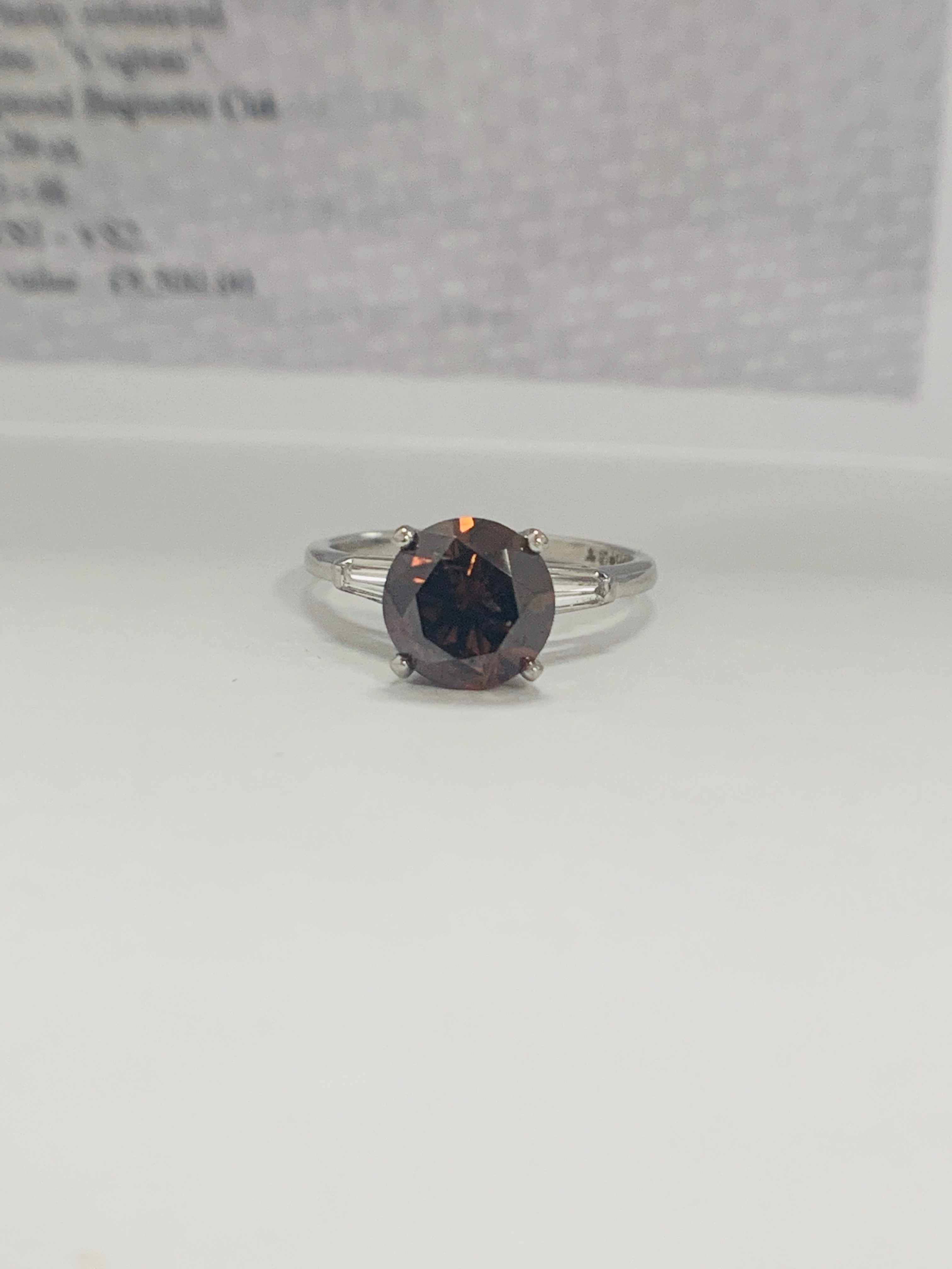 Platinum Diamond ring featuring centre, round brilliant cut, deep orangey brown Diamond (2.15ct) - Image 14 of 14