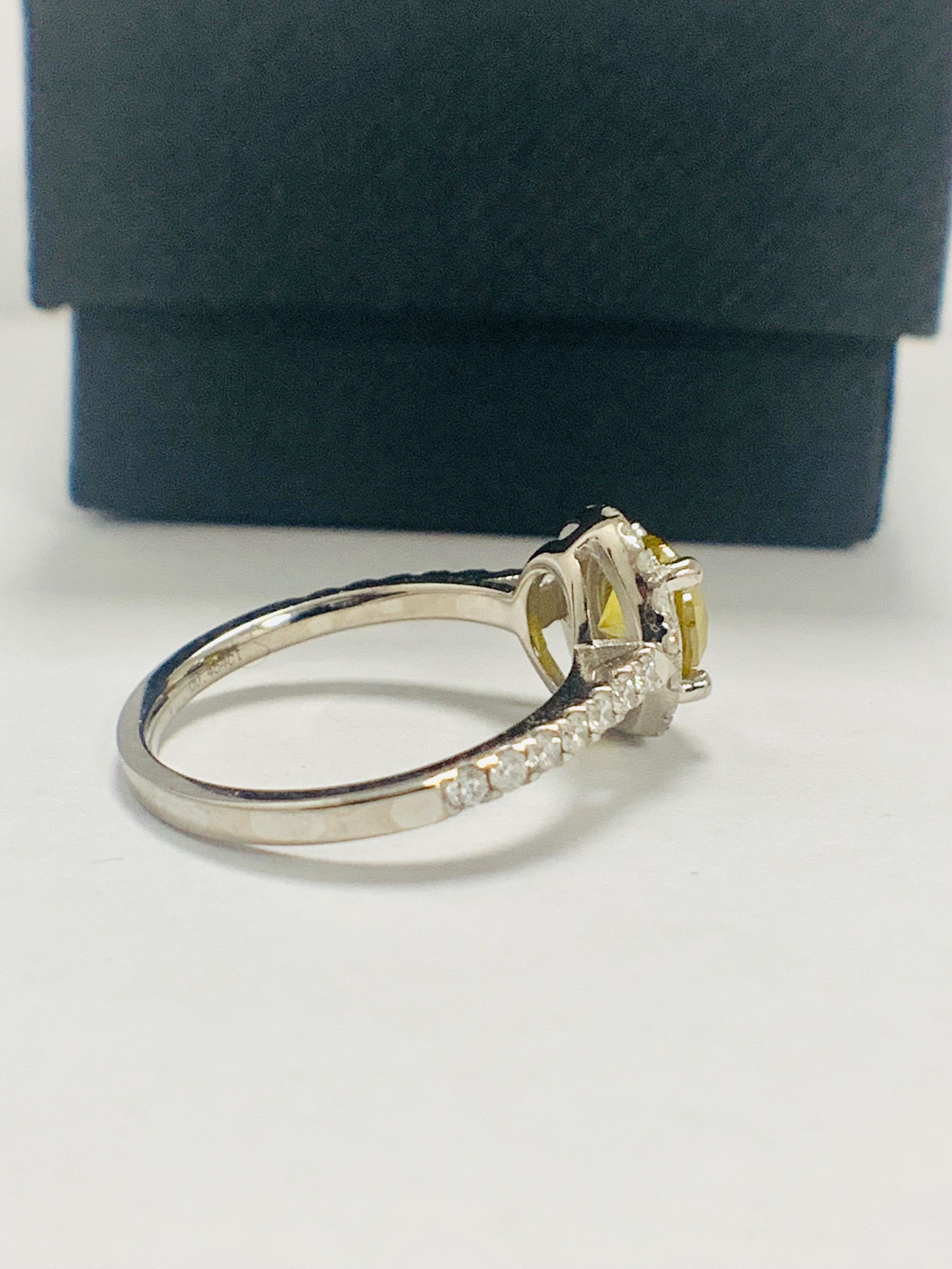 14ct White Gold Diamond ring featuring centre, round brilliant cut, yellow Diamond (1.08ct) - Image 7 of 12