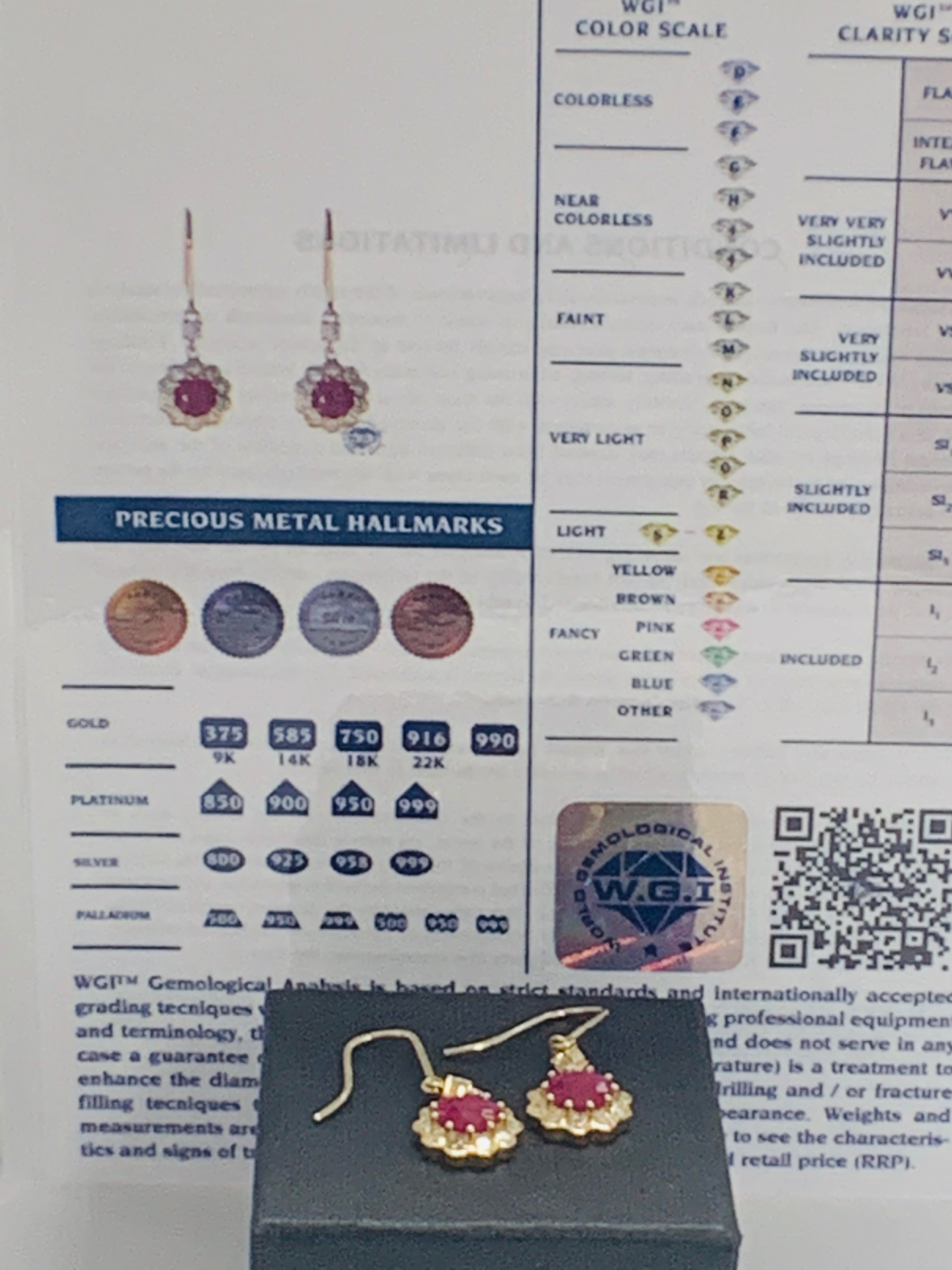 14ct Yellow Gold Ruby and Diamond earrings featuring, 2 round cut, red Rubies (2.22ct TSW) - Image 8 of 8