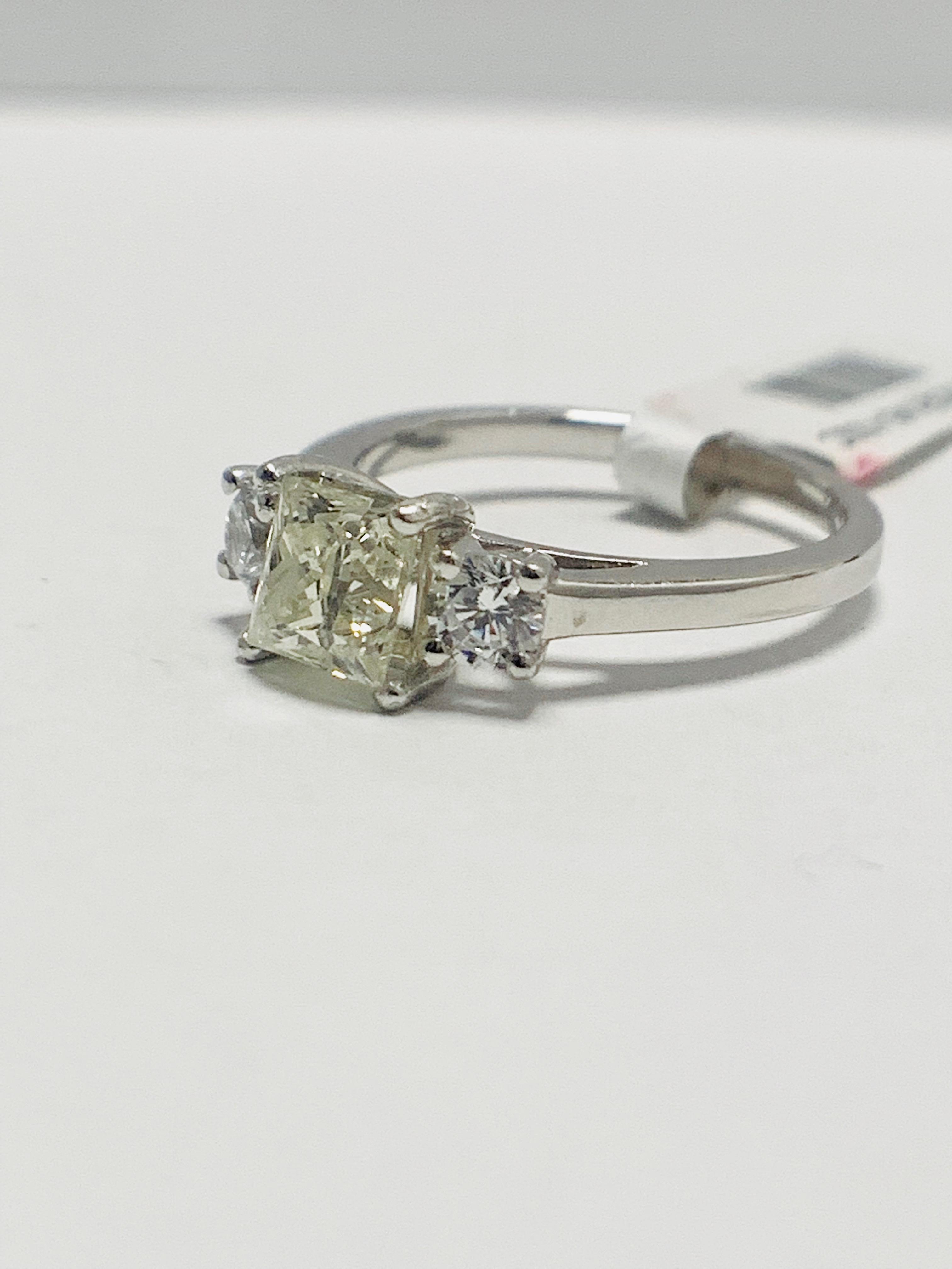 Platinum diamond three stone ring 1.50ct - Image 2 of 8