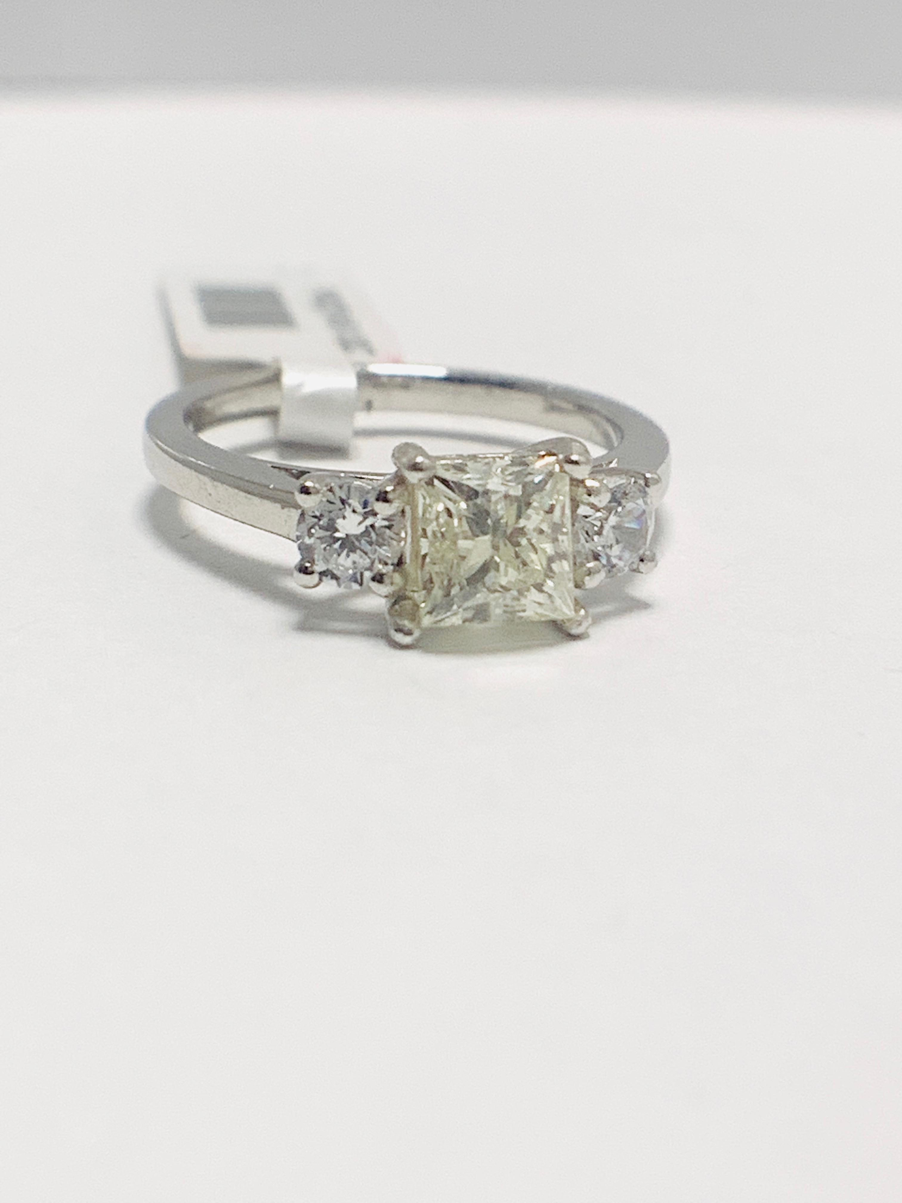 Platinum diamond three stone ring 1.50ct - Image 6 of 8