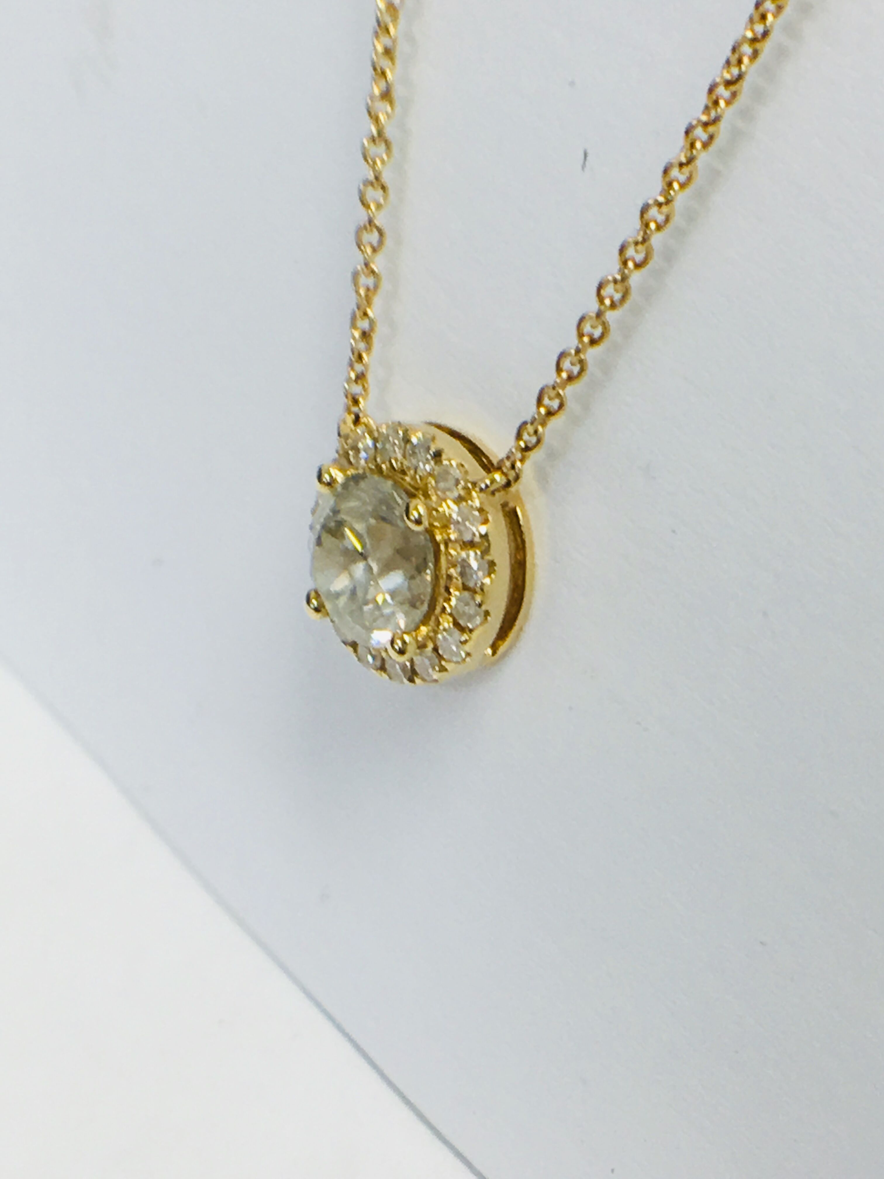 18ct yellow gold diamond necklace. tdw. - Image 6 of 10