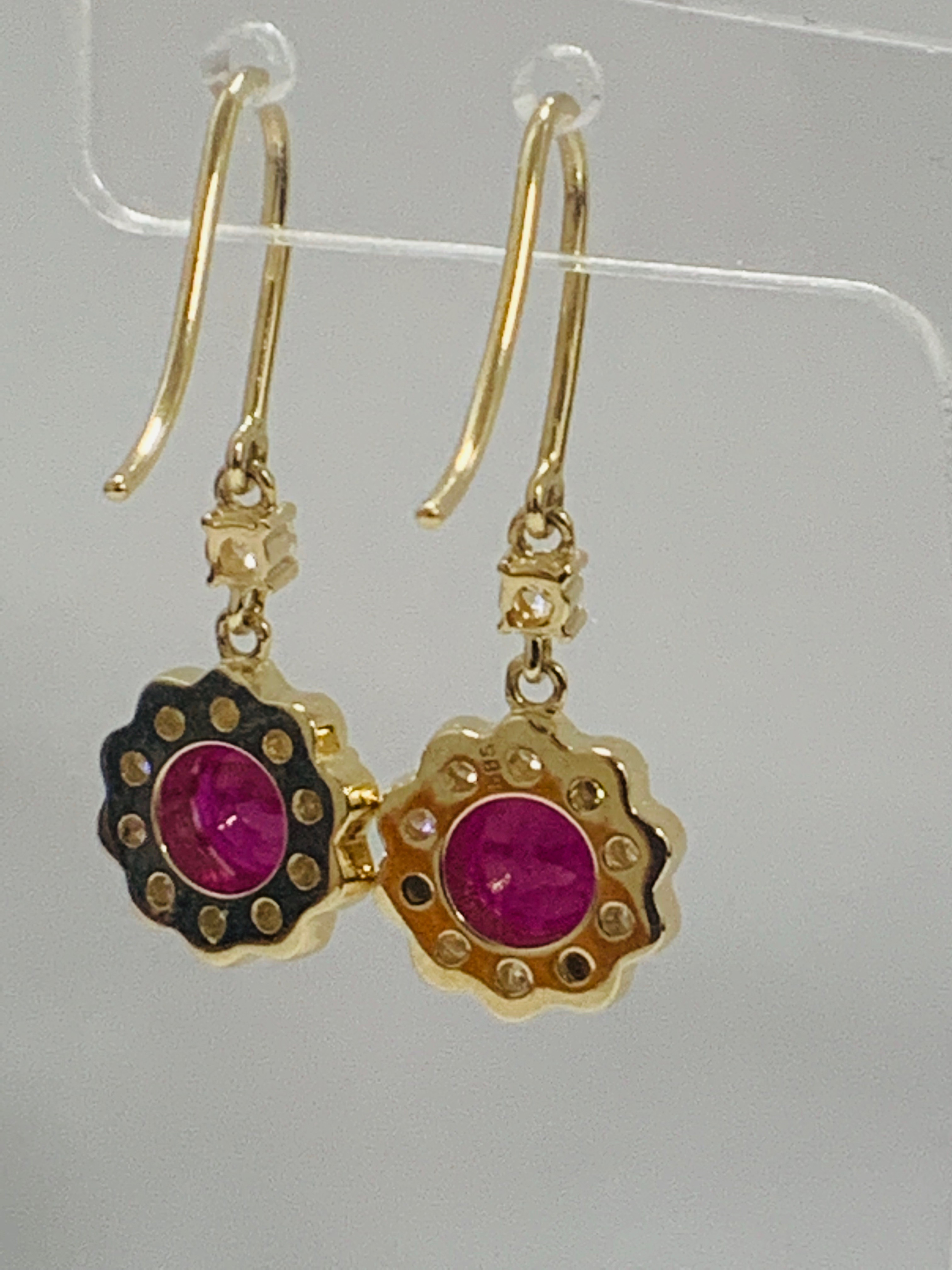 14ct Yellow Gold Ruby and Diamond earrings featuring, 2 round cut, red Rubies (2.22ct TSW) - Image 6 of 8