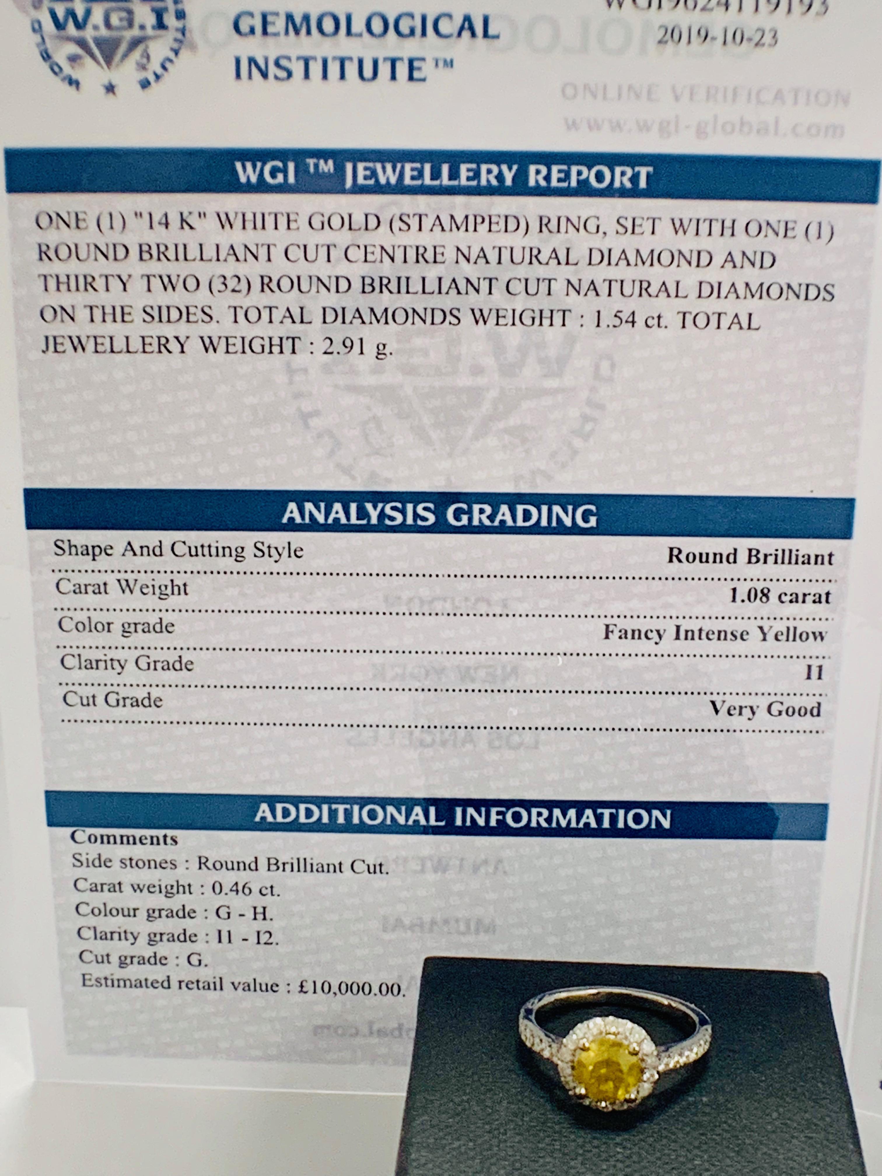 14ct White Gold Diamond ring featuring centre, round brilliant cut, yellow Diamond (1.08ct) - Image 11 of 12