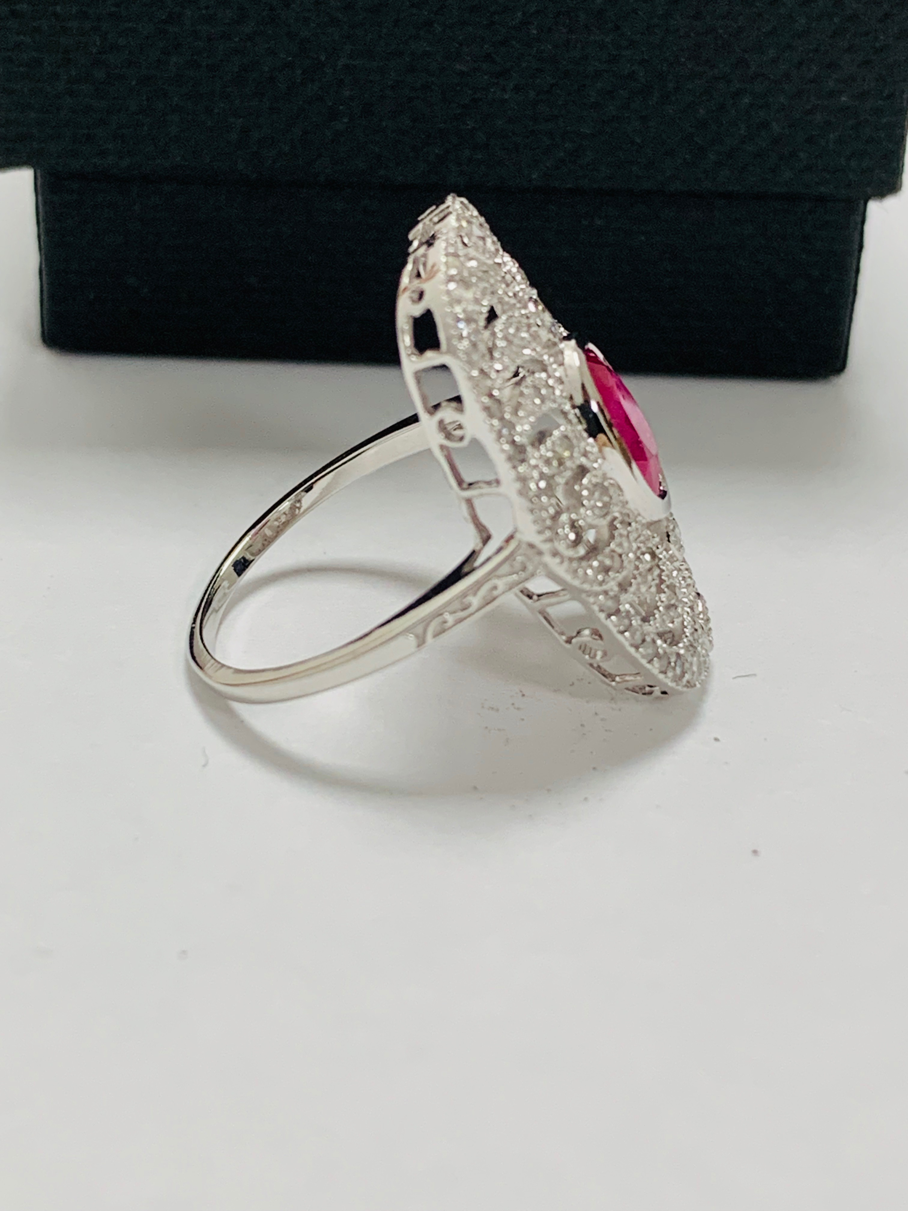 18ct white gold ruby& diamond ring. - Image 8 of 11