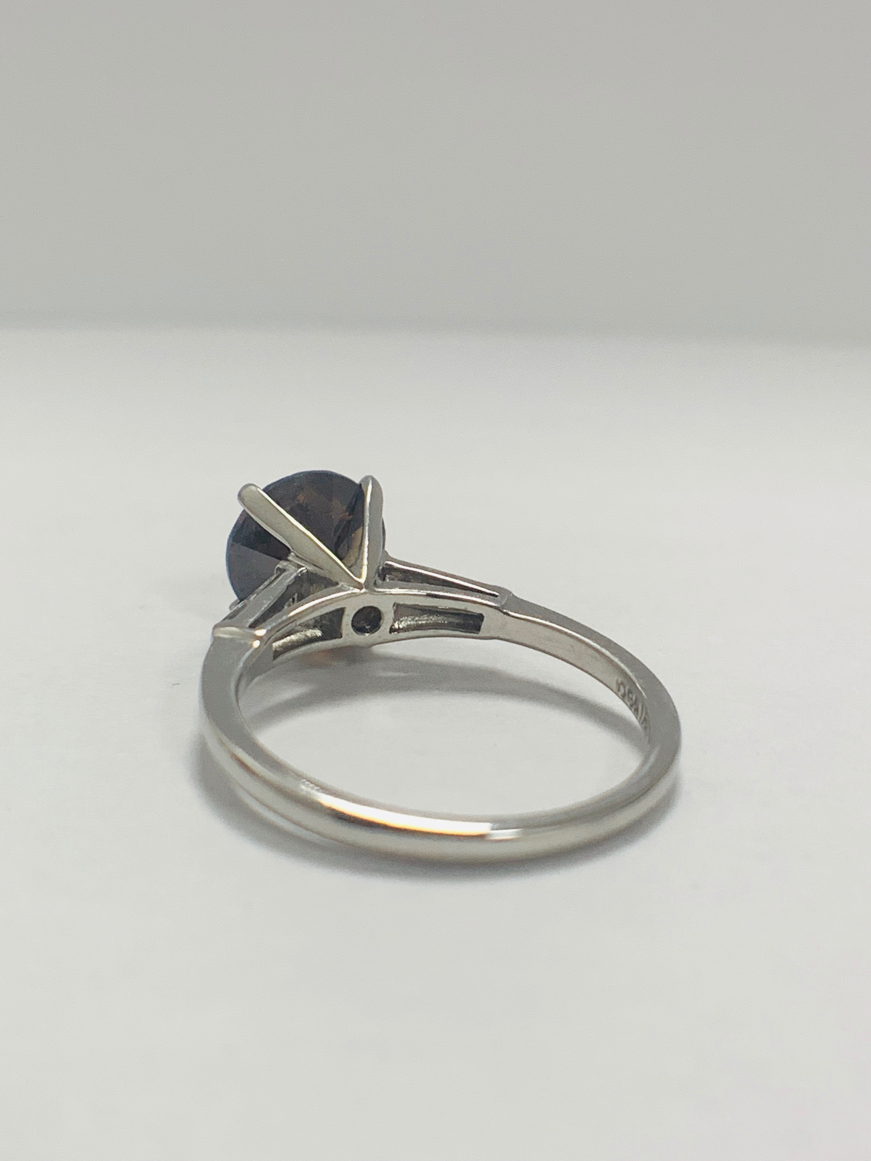 Platinum Diamond ring featuring centre, round brilliant cut, deep orangey brown Diamond (2.15ct) - Image 7 of 14