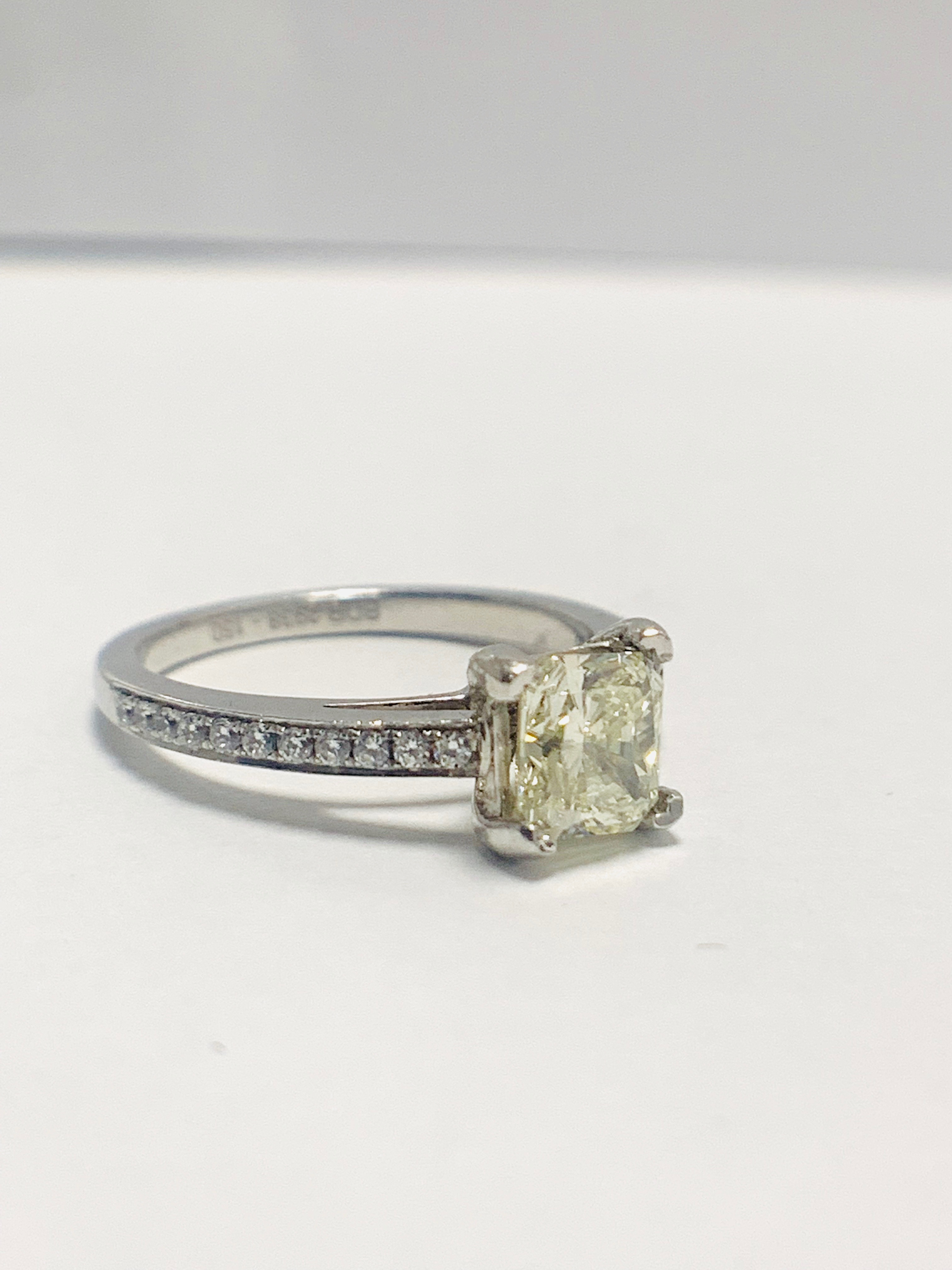 1ct cushion cut platinum diamond solitaire ring - Image 6 of 8