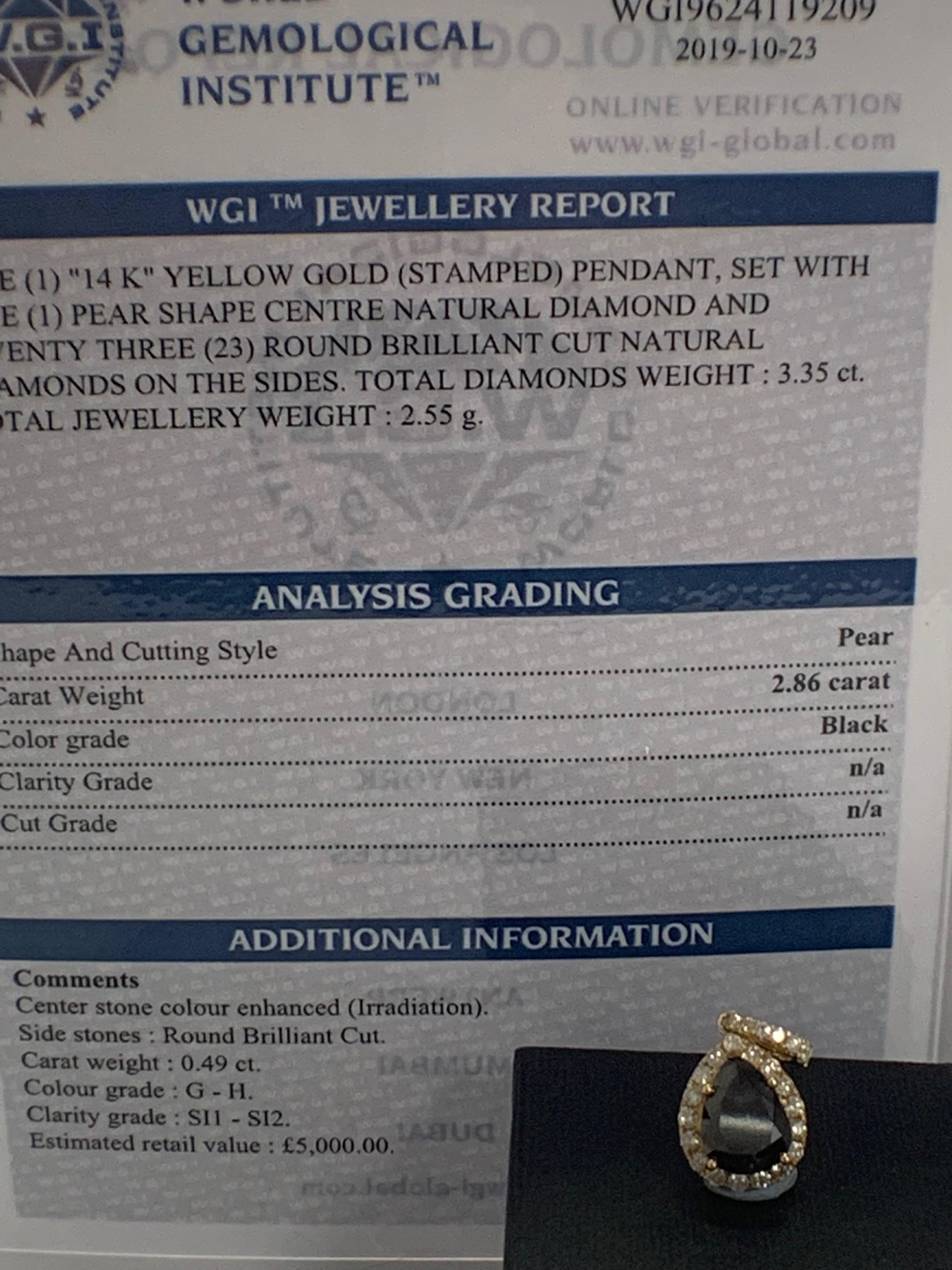 14ct Yellow Gold Diamond pendant featuring centre, pear cut, black Diamond (2.86ct) - Image 5 of 6