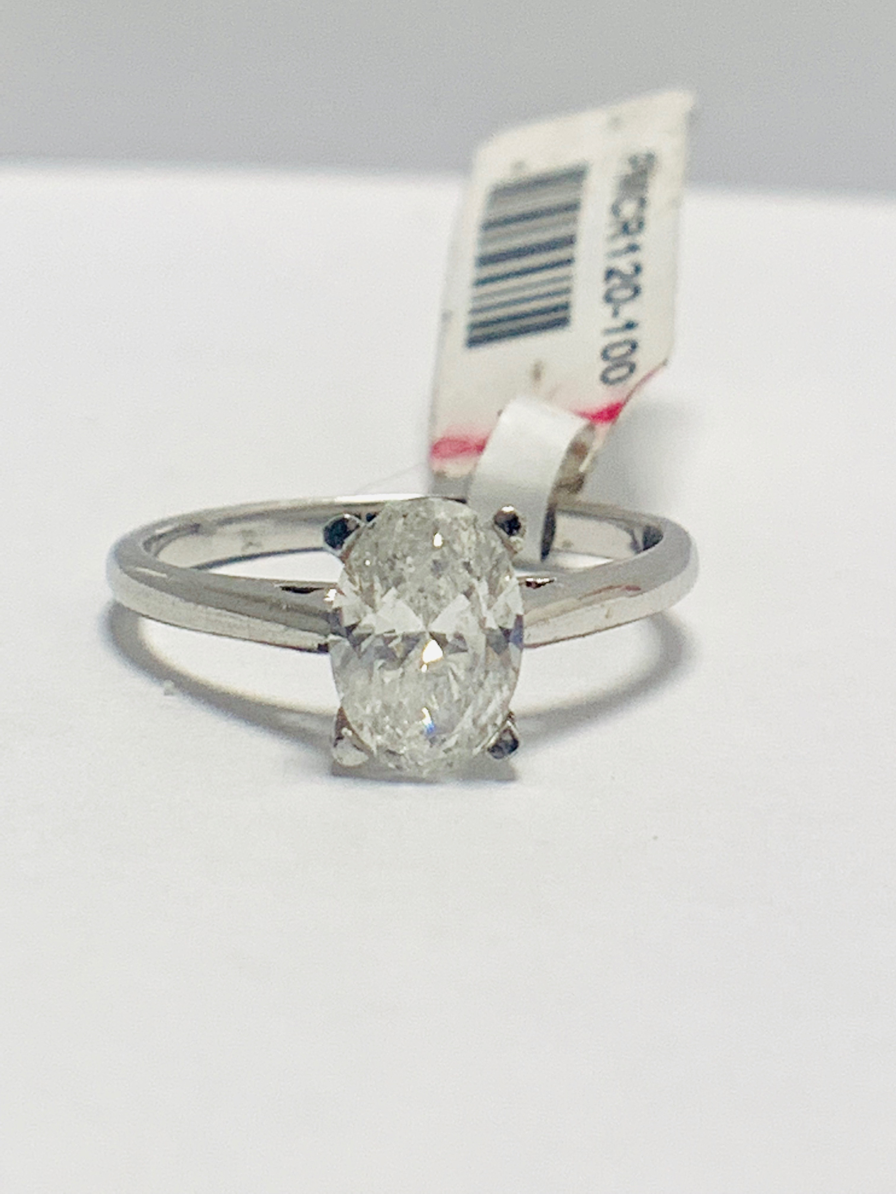 1ct Oval diamond solitaire platinum ring