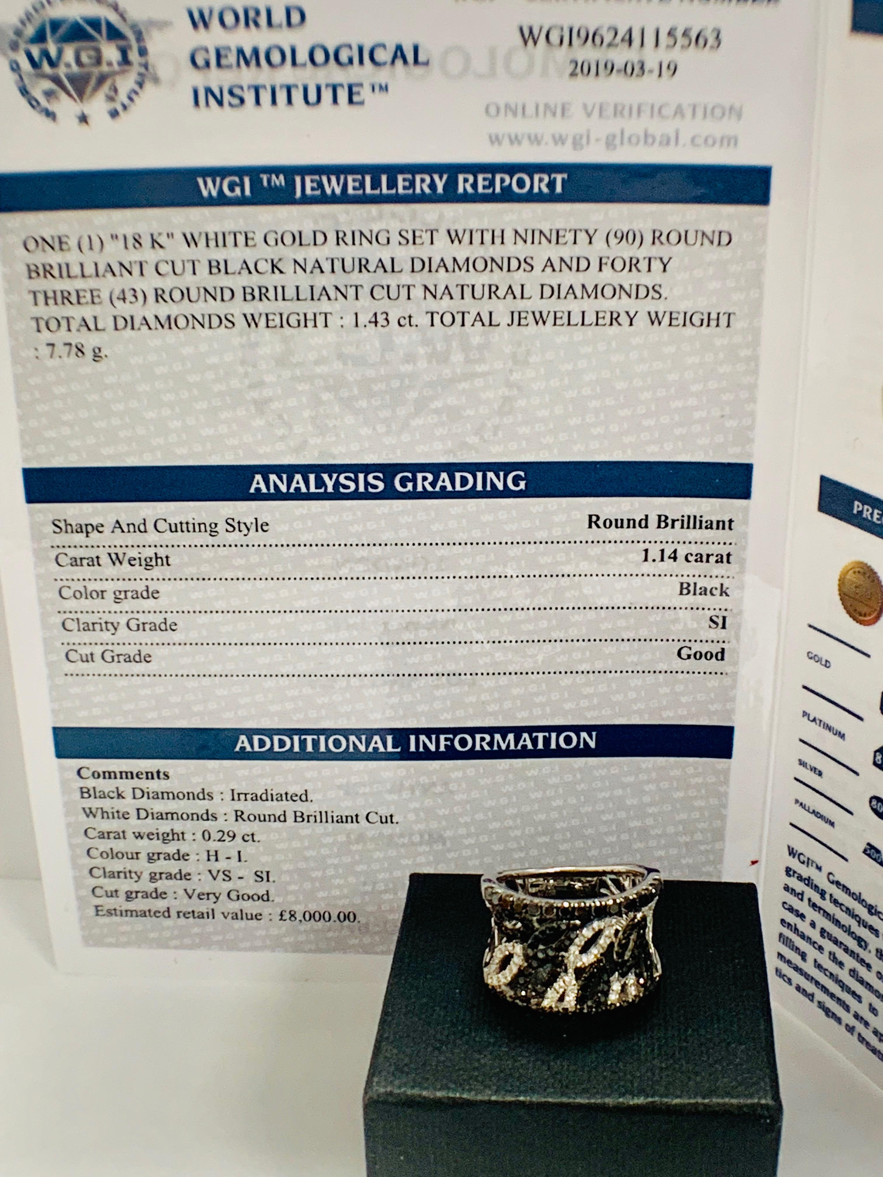 18ct White Gold Diamond ring featuring 90 round cut, black Diamonds (1.14ct TBDW) - Image 15 of 15