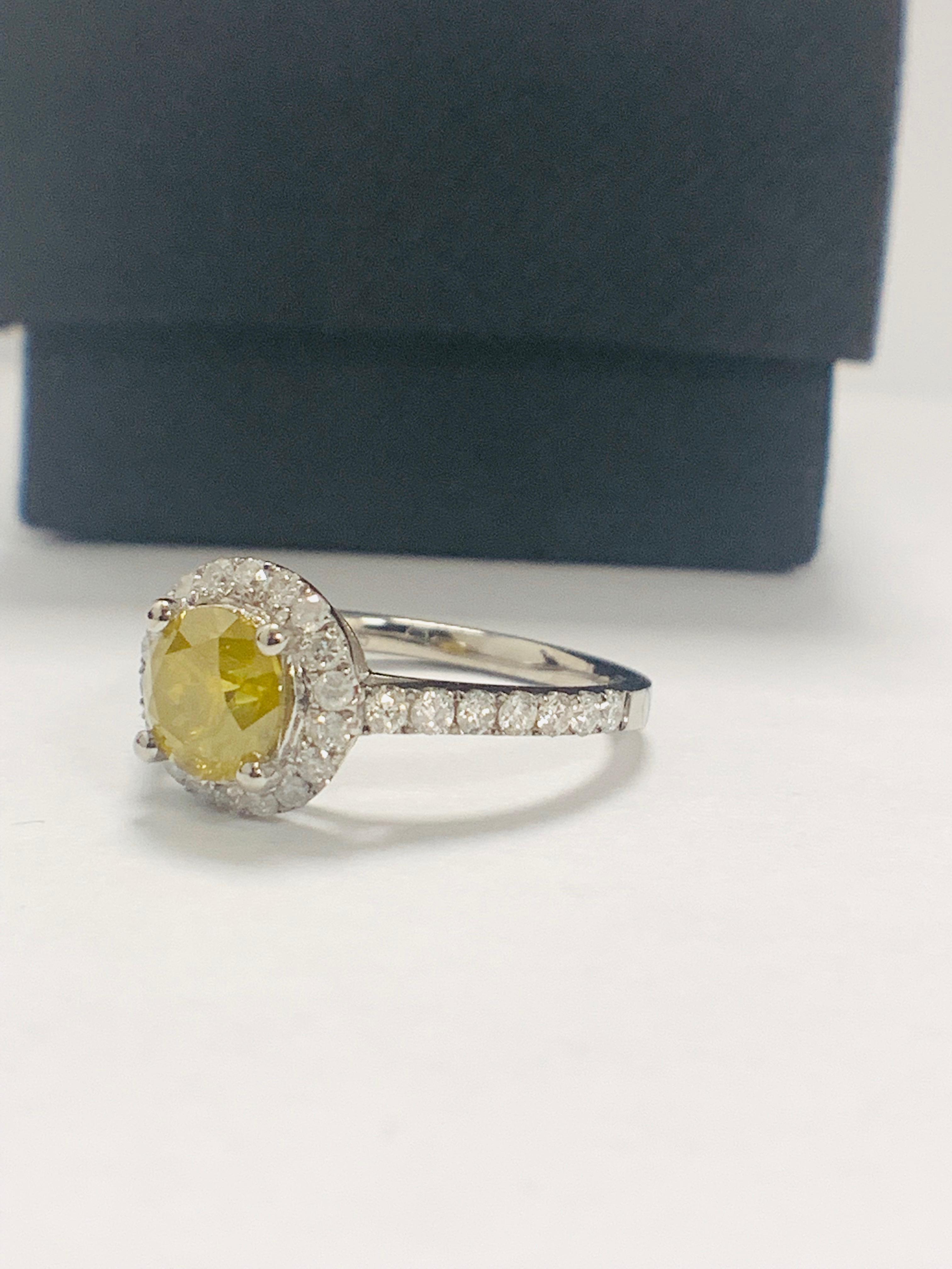 14ct White Gold Diamond ring featuring centre, round brilliant cut, yellow Diamond (1.08ct) - Image 2 of 12