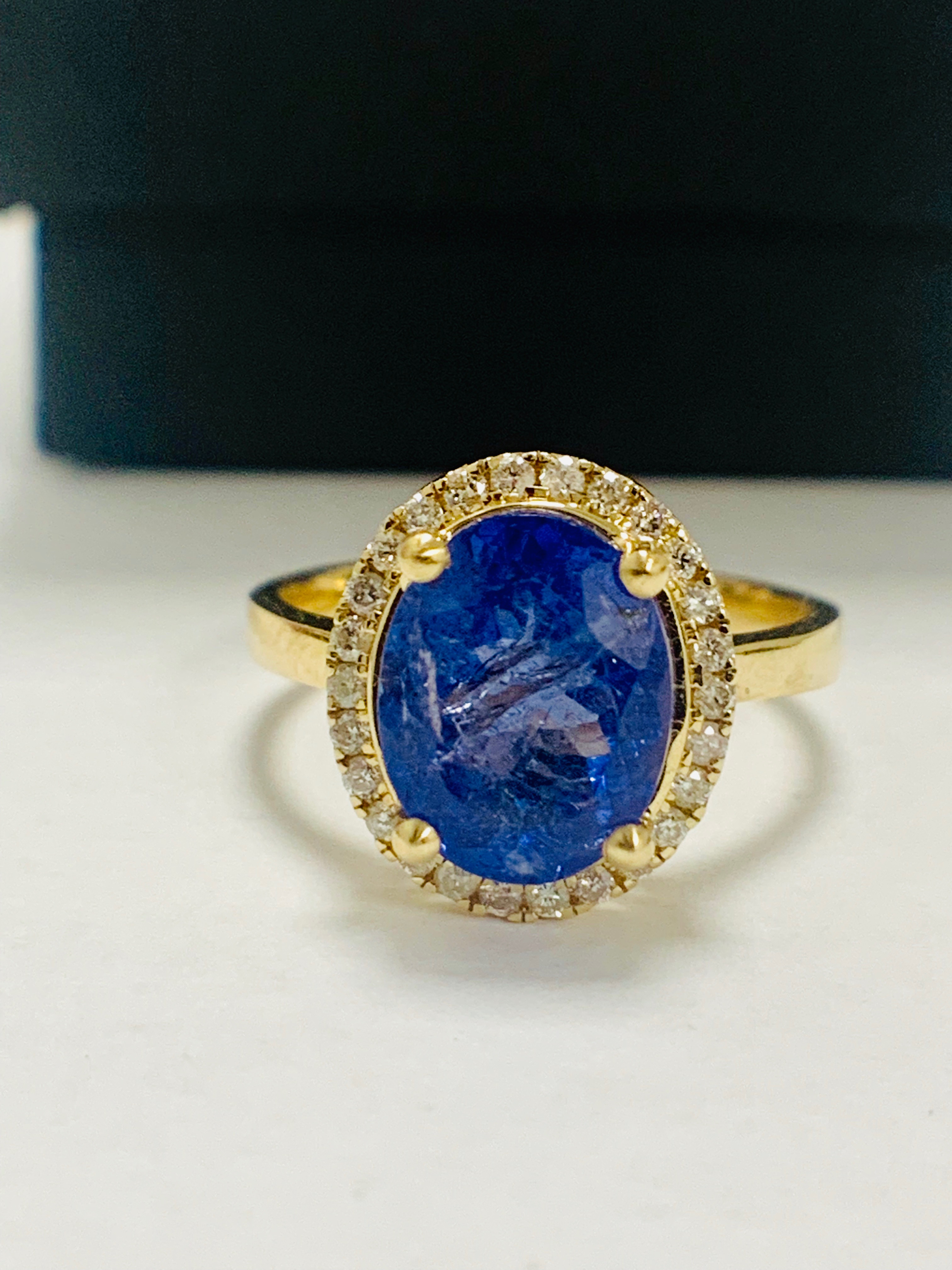 14ct Yellow Gold Tanzanite and Diamond ring