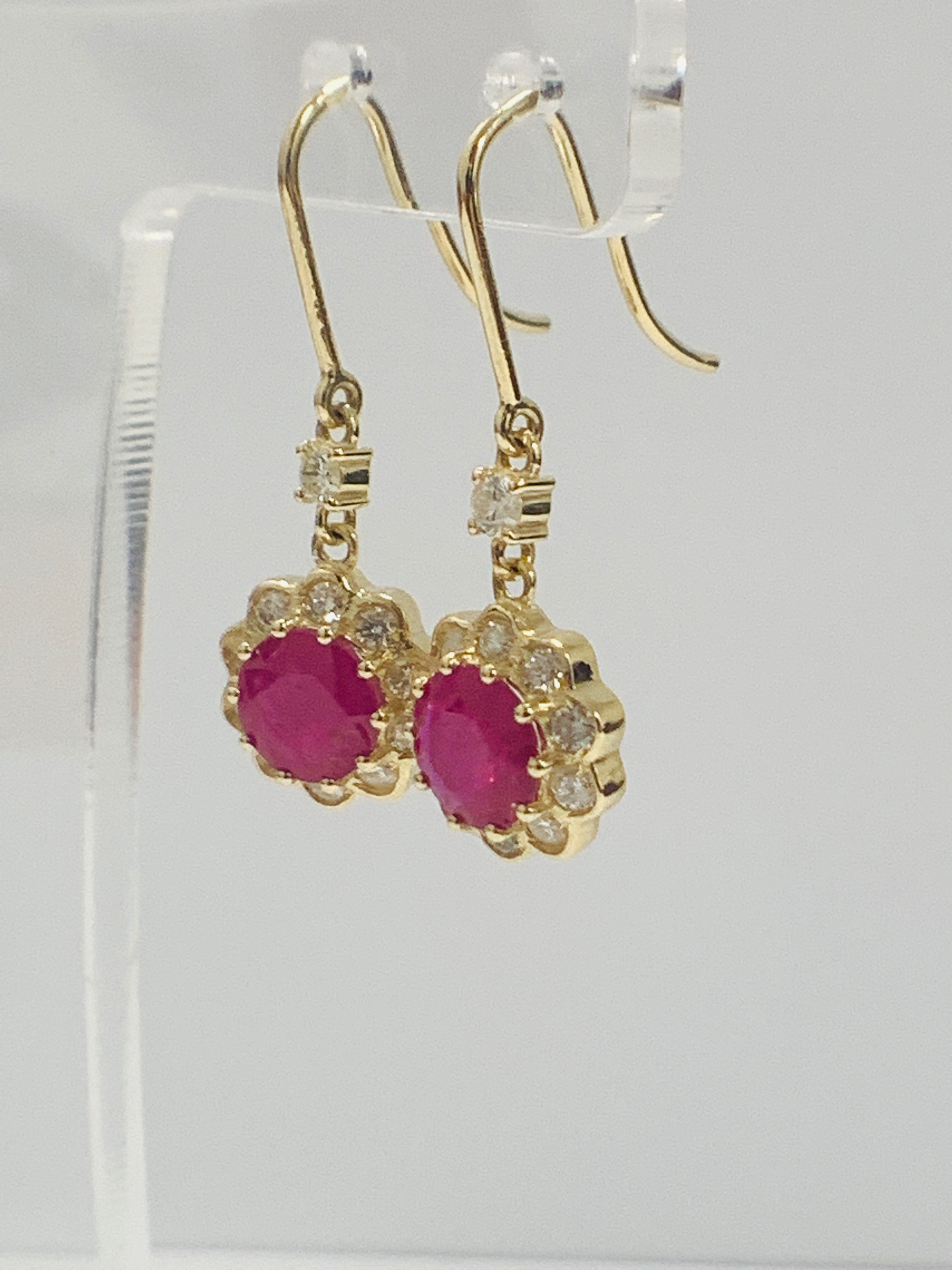14ct Yellow Gold Ruby and Diamond earrings featuring, 2 round cut, red Rubies (2.22ct TSW) - Image 5 of 8