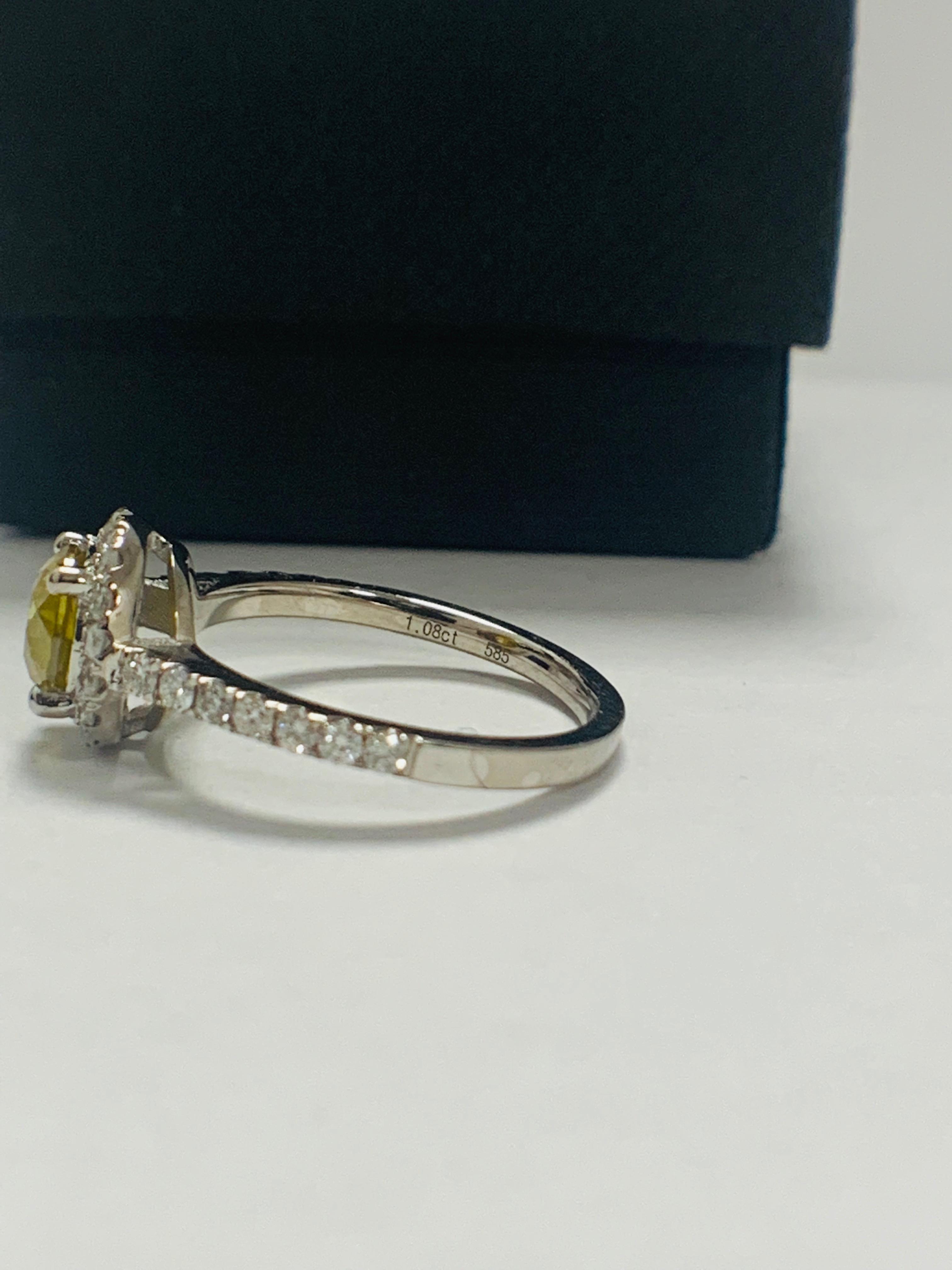 14ct White Gold Diamond ring featuring centre, round brilliant cut, yellow Diamond (1.08ct) - Image 4 of 12
