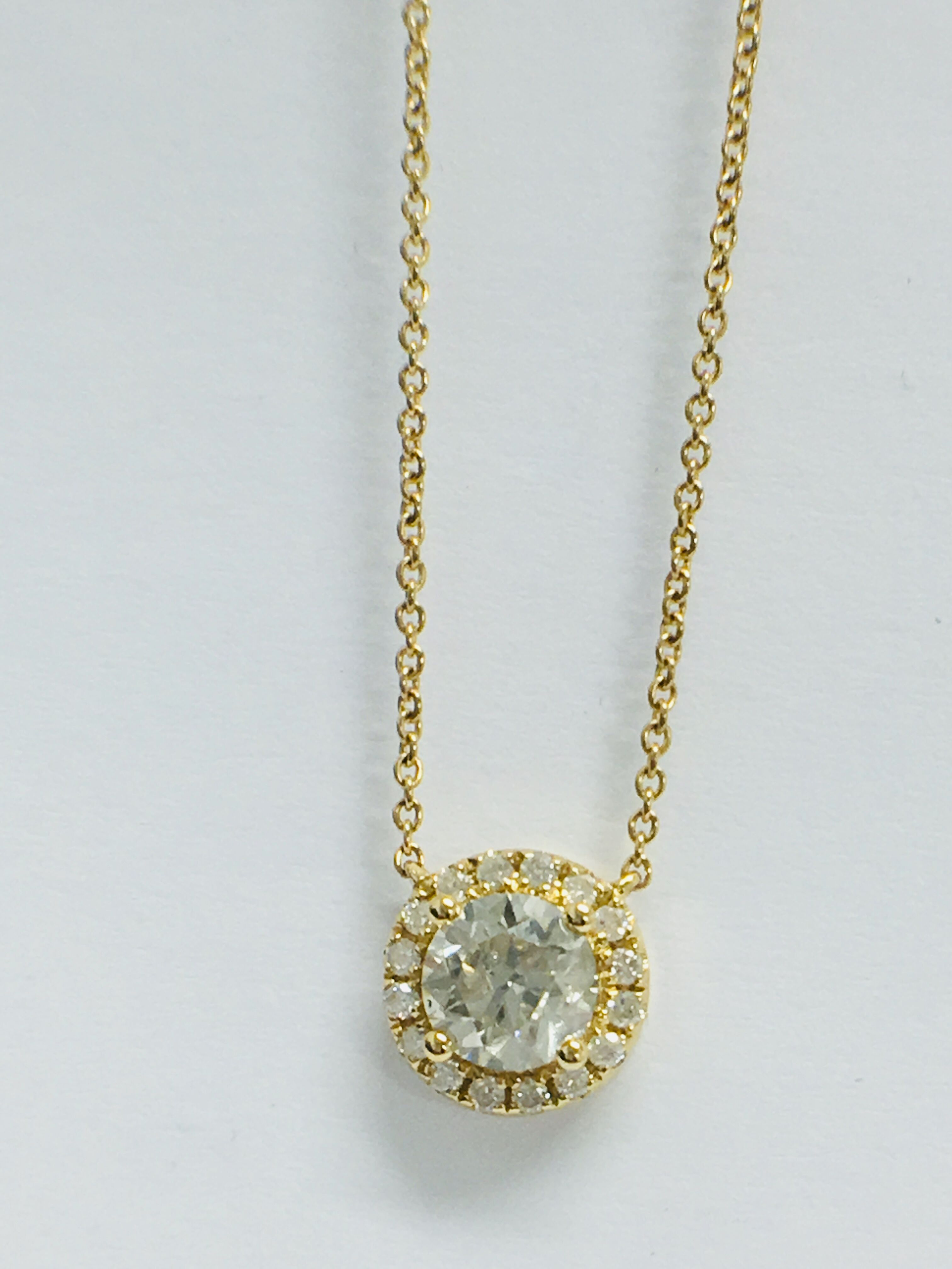 18ct yellow gold diamond necklace. tdw. - Image 8 of 10
