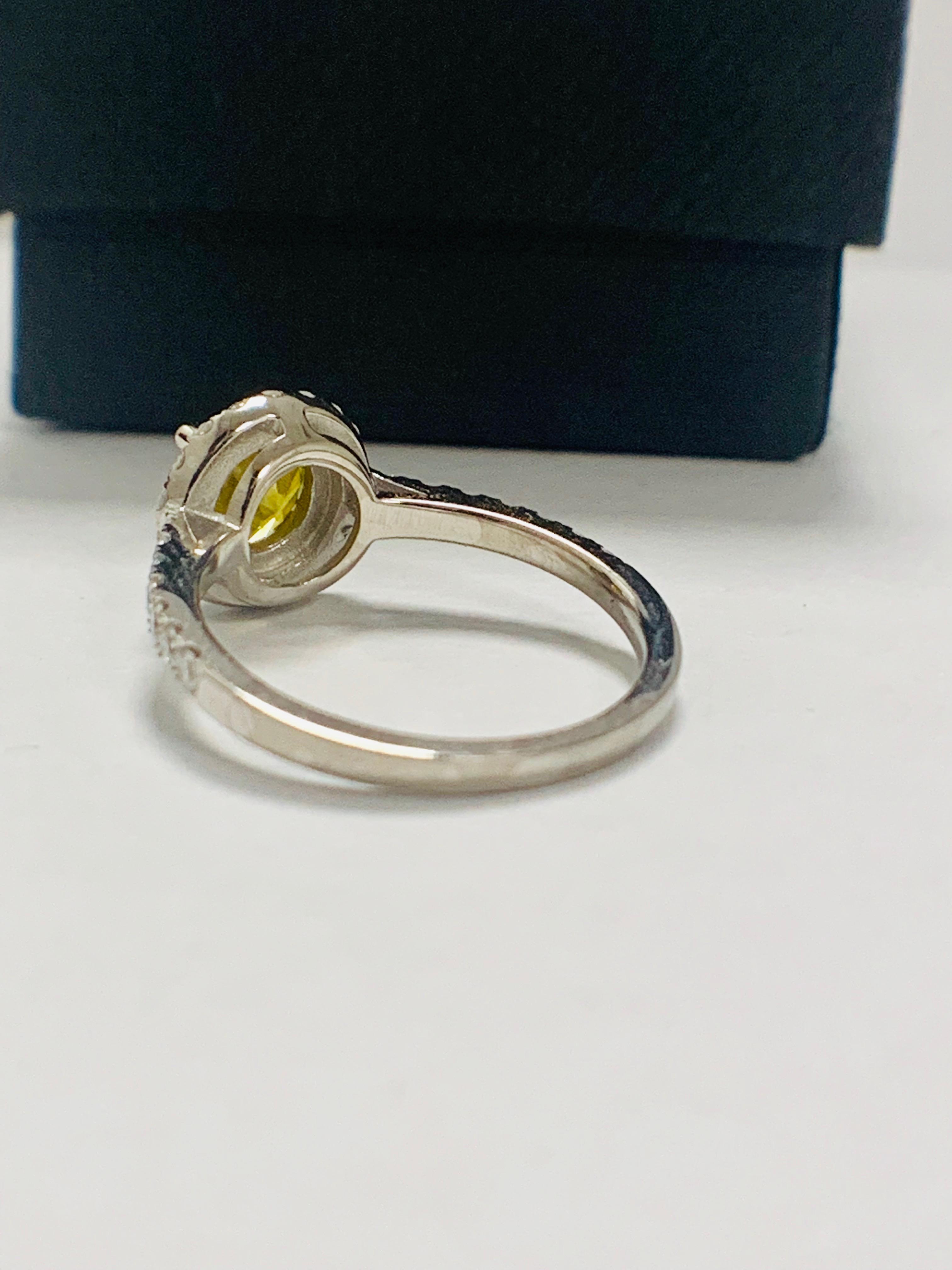 14ct White Gold Diamond ring featuring centre, round brilliant cut, yellow Diamond (1.08ct) - Image 5 of 12