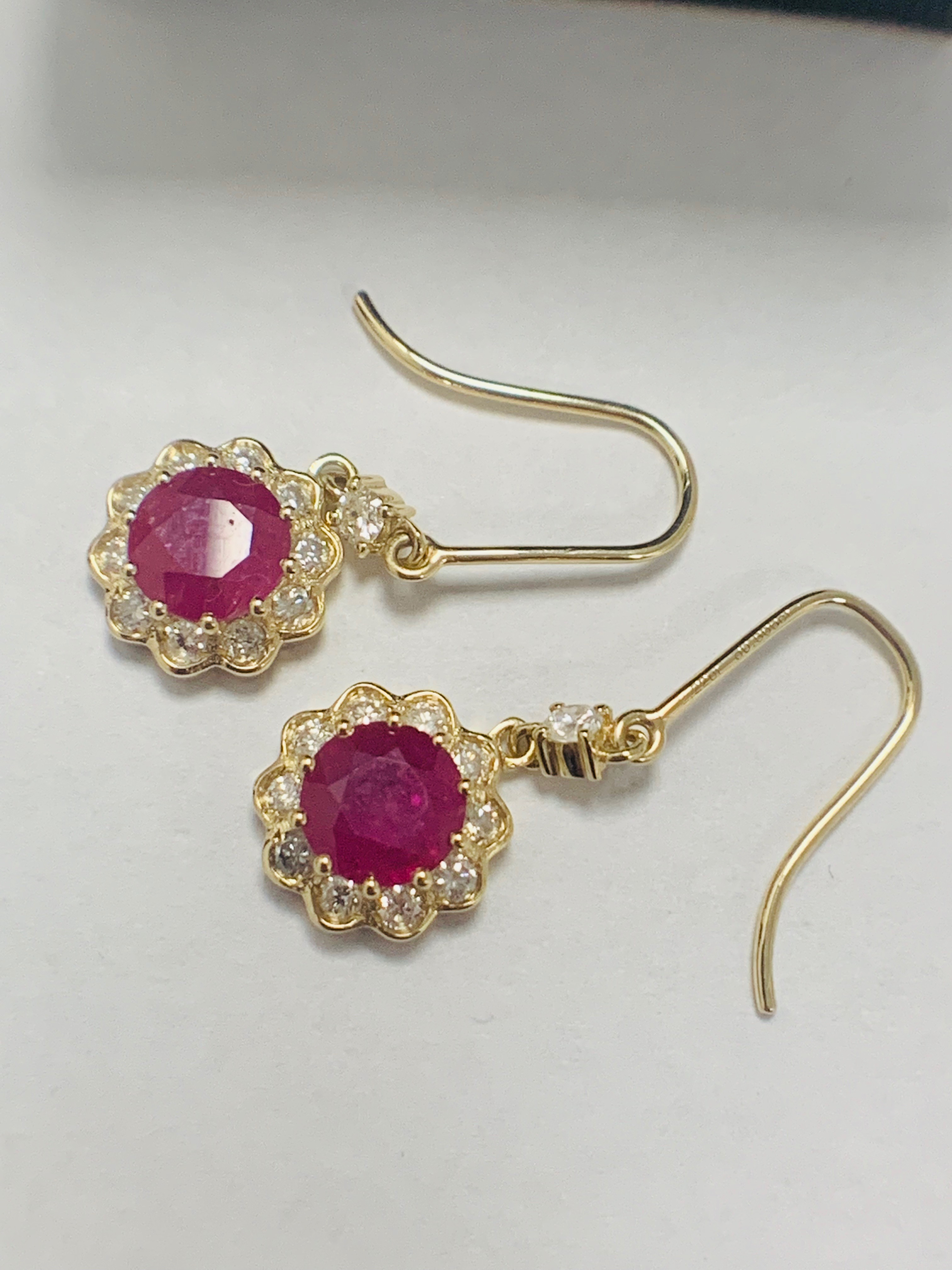14ct Yellow Gold Ruby and Diamond earrings featuring, 2 round cut, red Rubies (2.22ct TSW) - Image 3 of 8