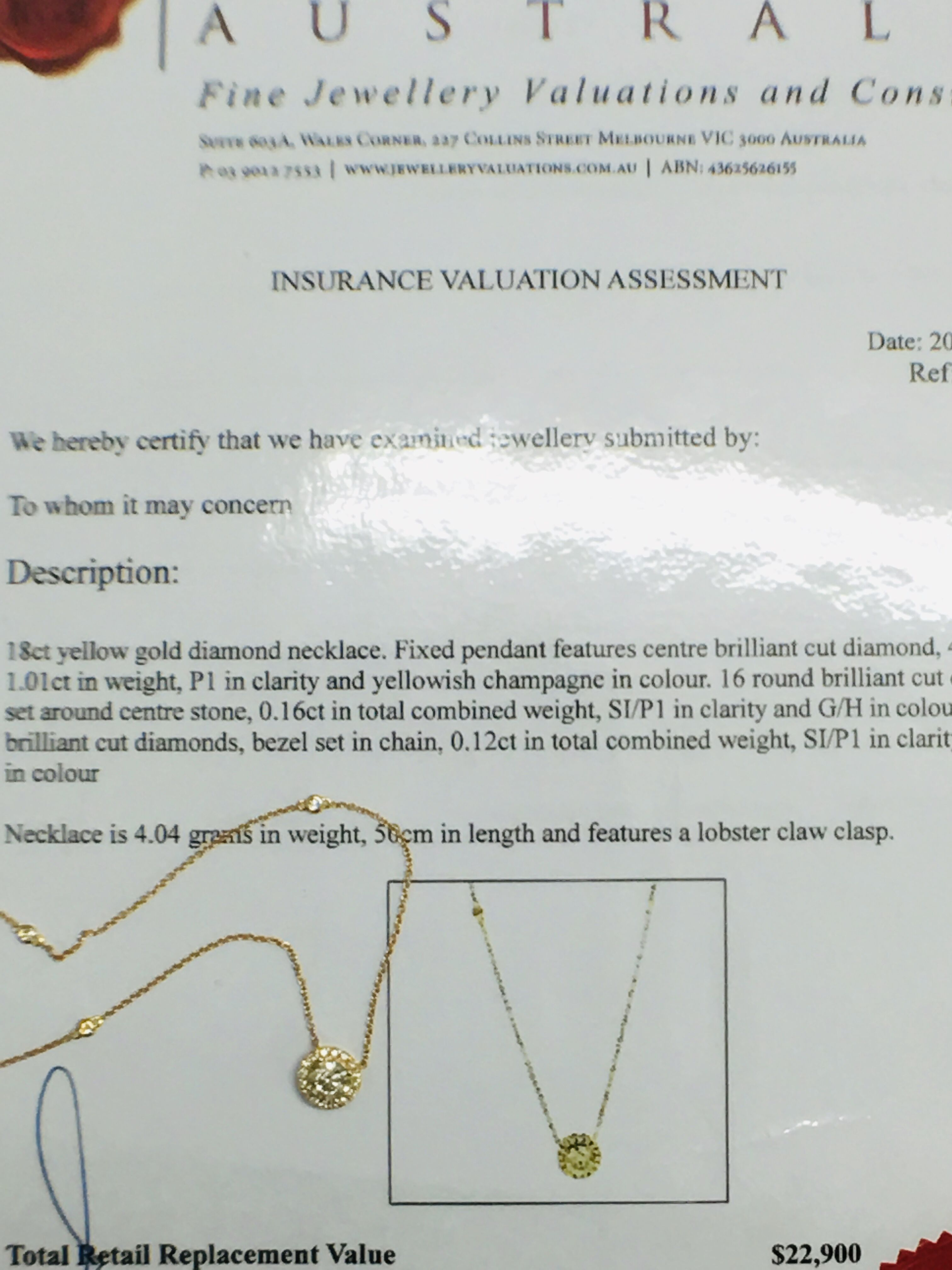 18ct yellow gold diamond necklace. tdw. - Image 10 of 10