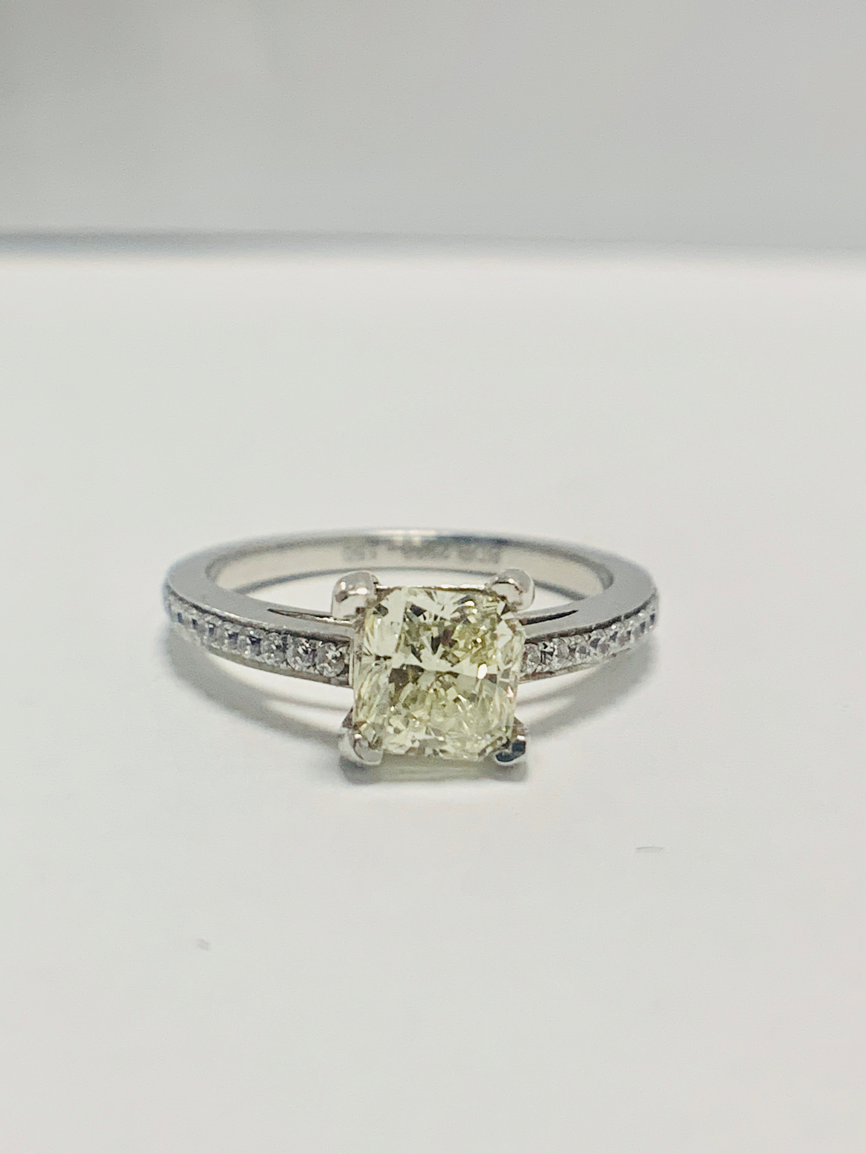 1ct cushion cut platinum diamond solitaire ring - Image 7 of 8