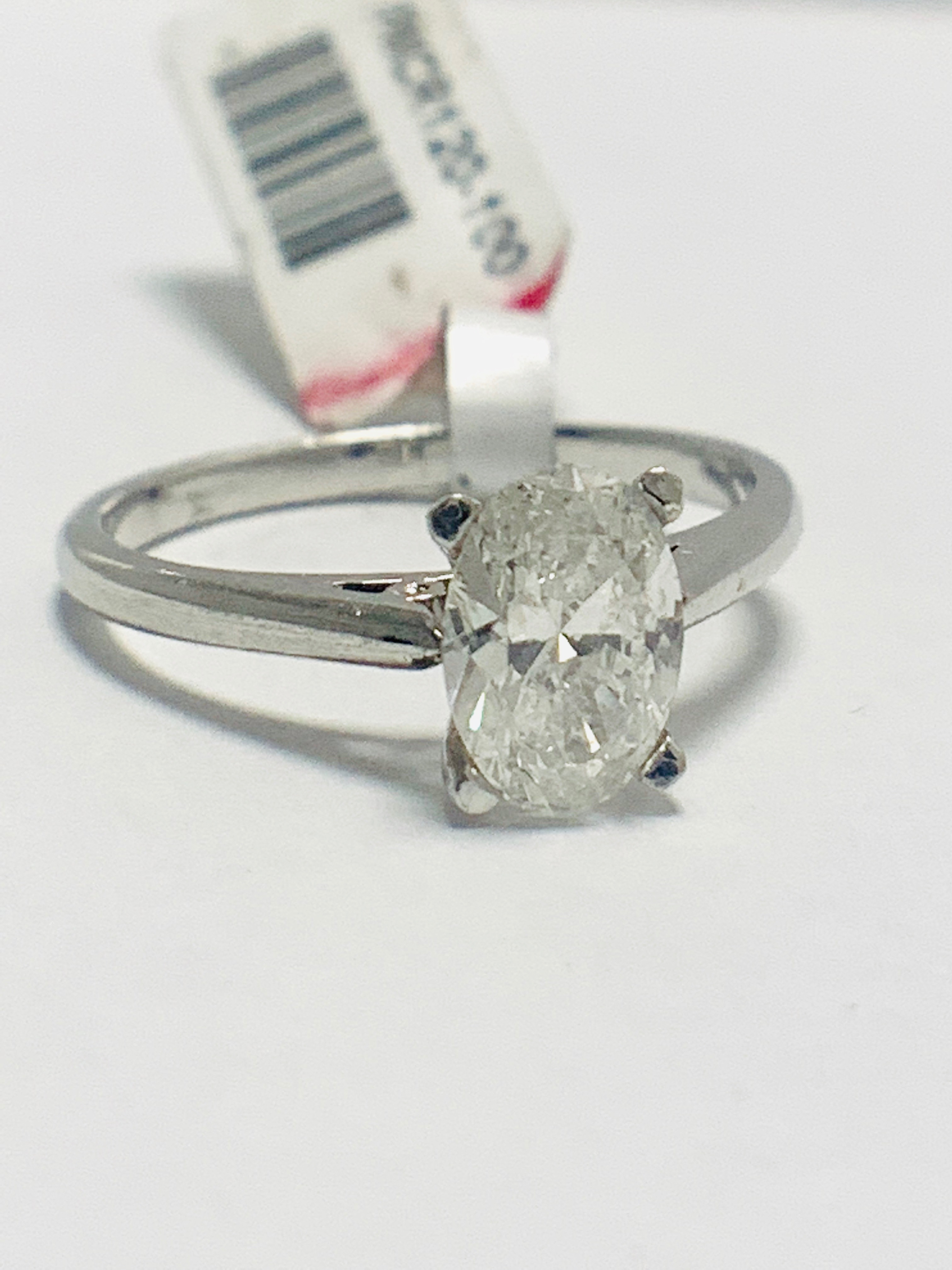 1ct Oval diamond solitaire platinum ring - Image 7 of 9