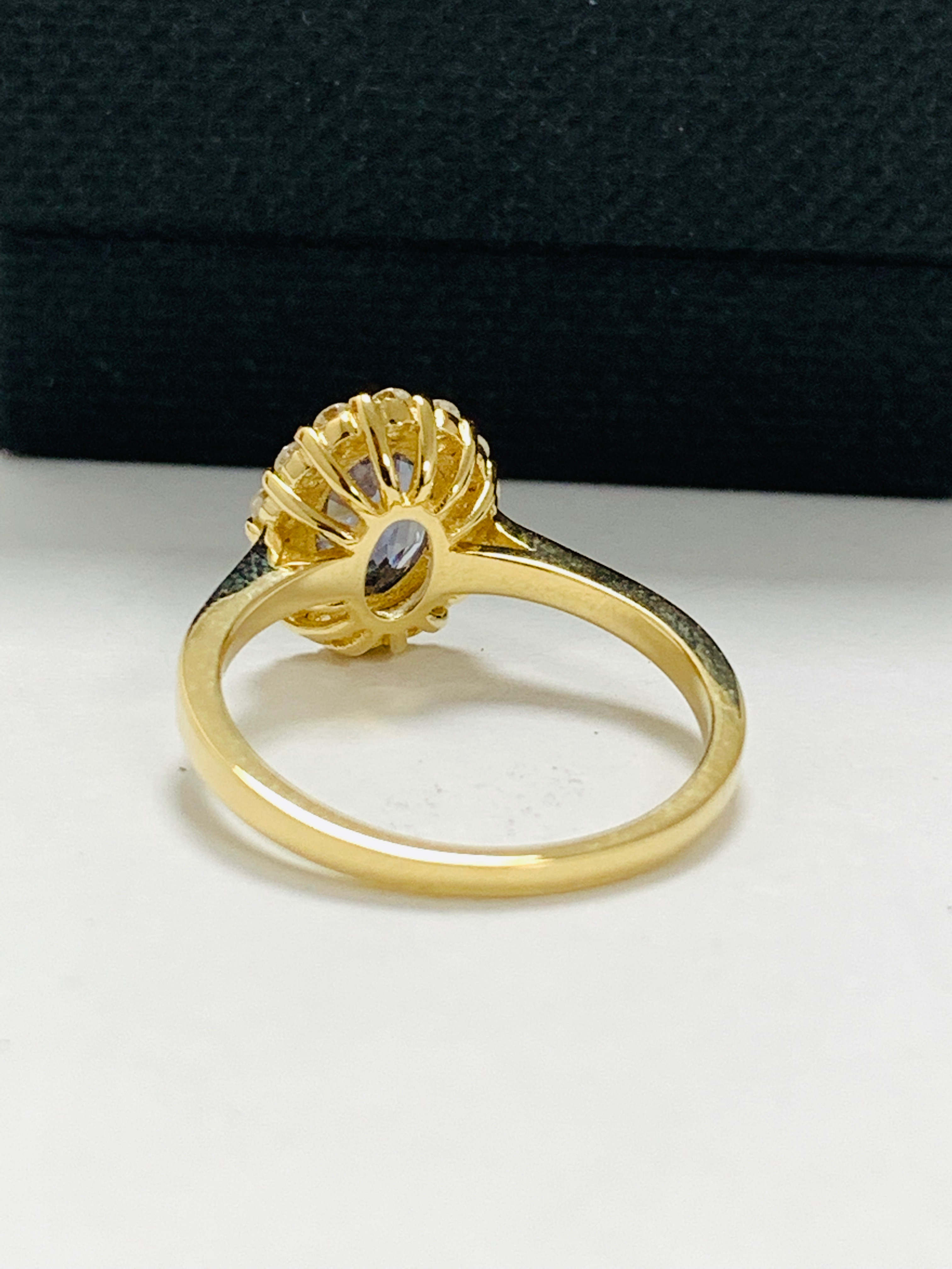14ct yellow gold sapphire and diamond ring. - Image 5 of 11
